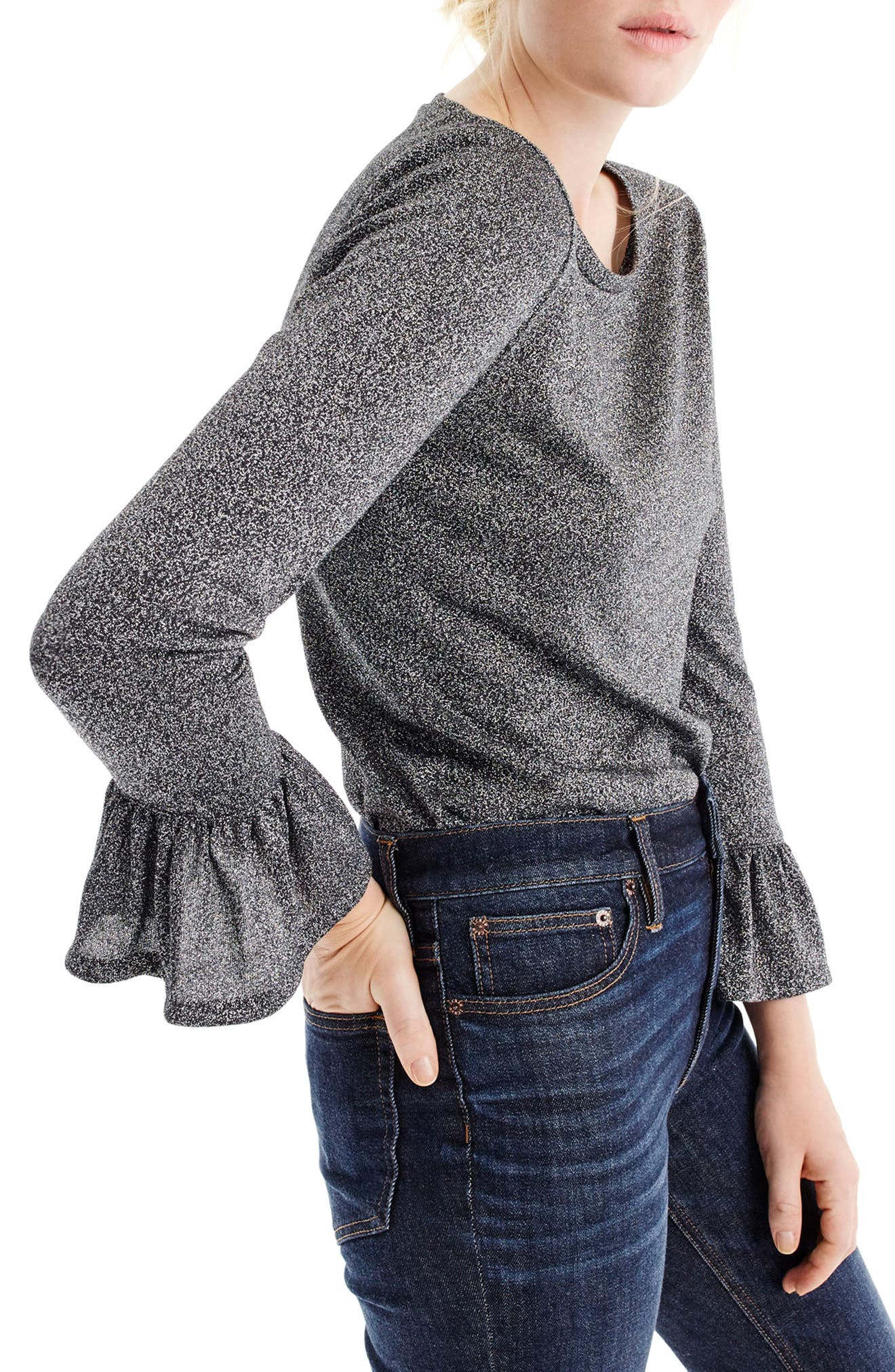 J.Crew Bell Sleeve Sparkle Top,                         Main,                         color, Heather Charcoal