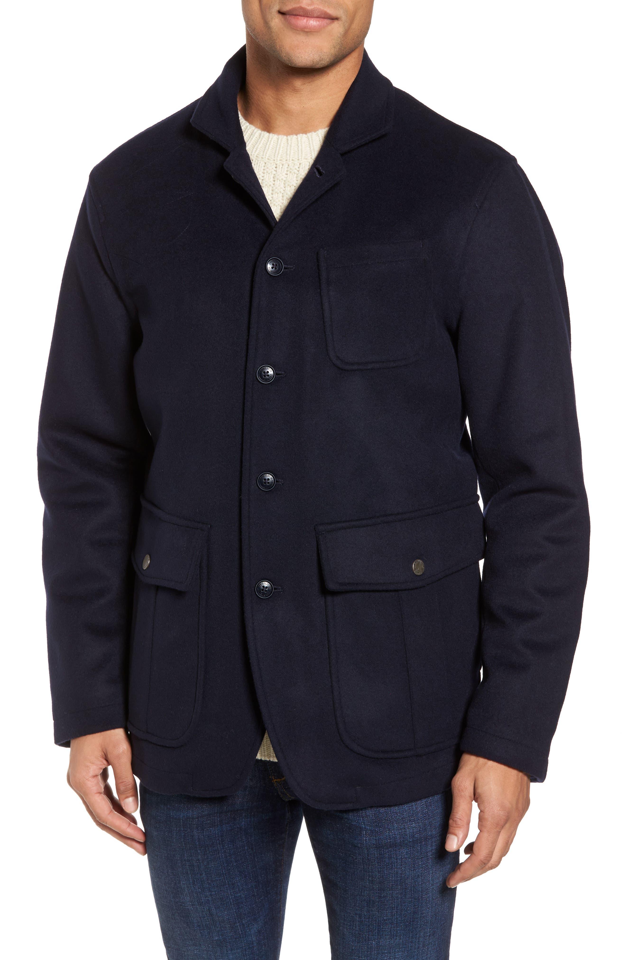 Wool Hybrid Blazer,                             Alternate thumbnail 4, color,                             Navy