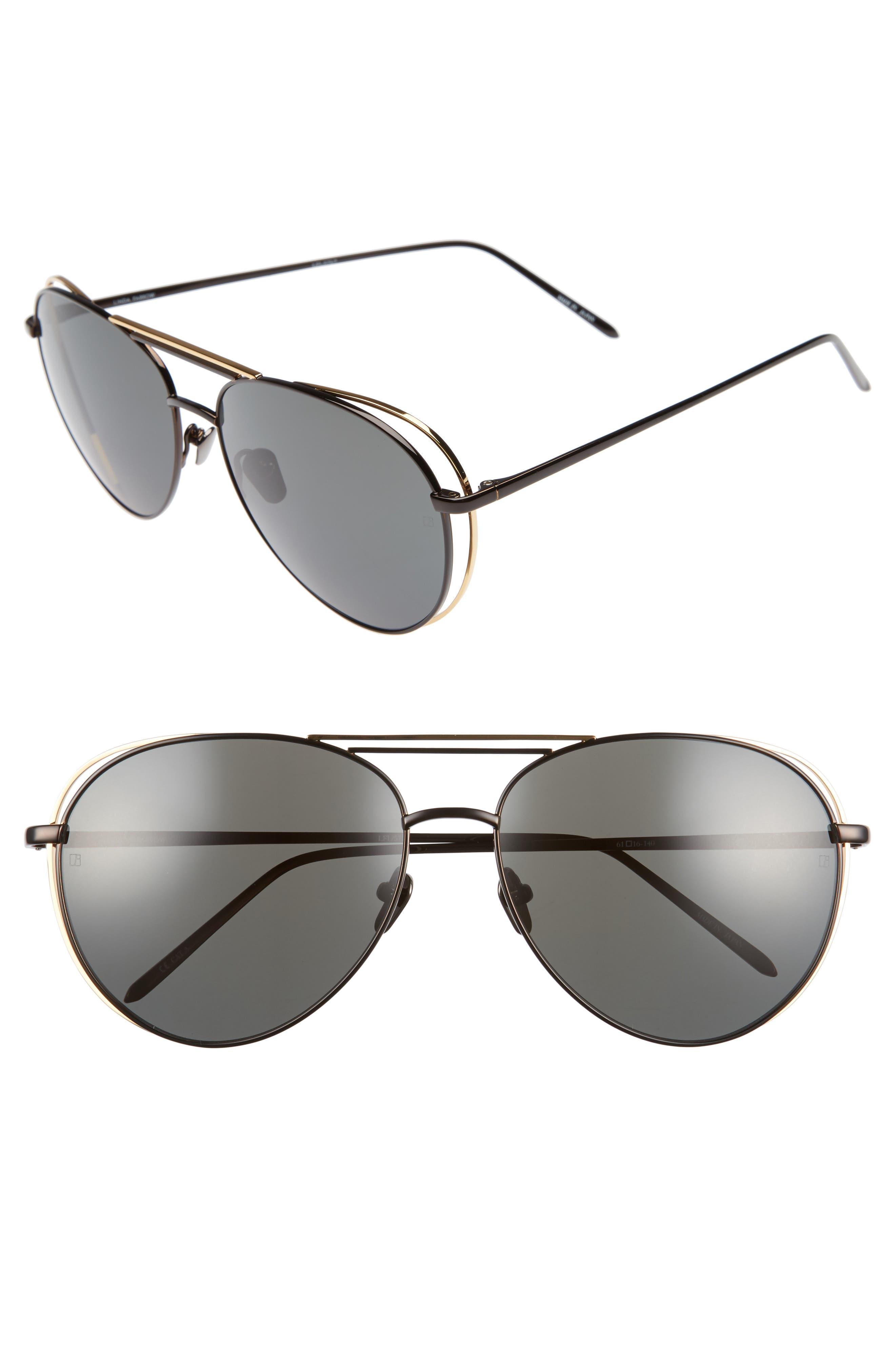 Linda Farrow 61mm 18 Karat Gold Aviator Sunglasses