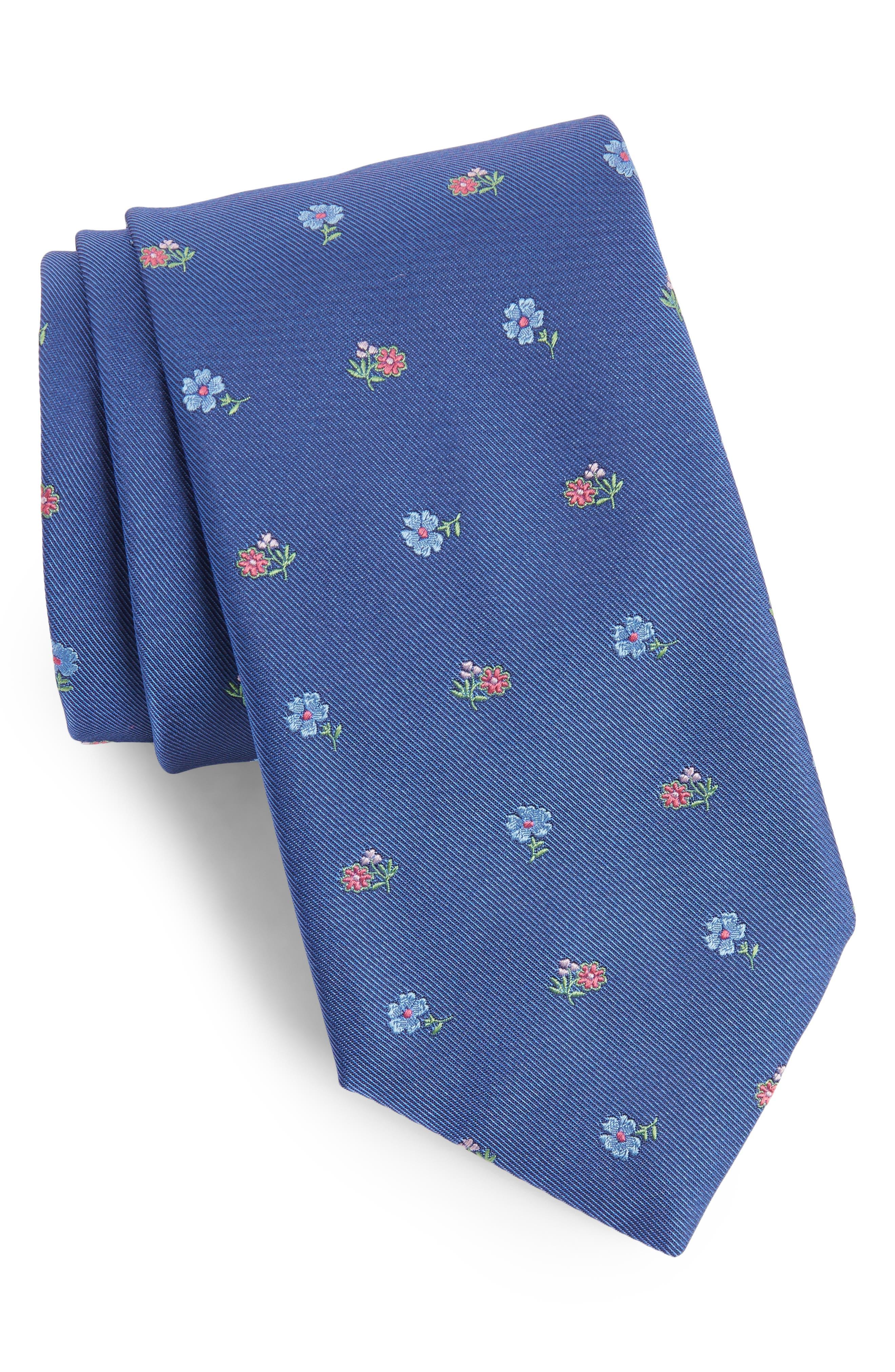 Floral Jacquard Silk Tie,                         Main,                         color, Dark Blue