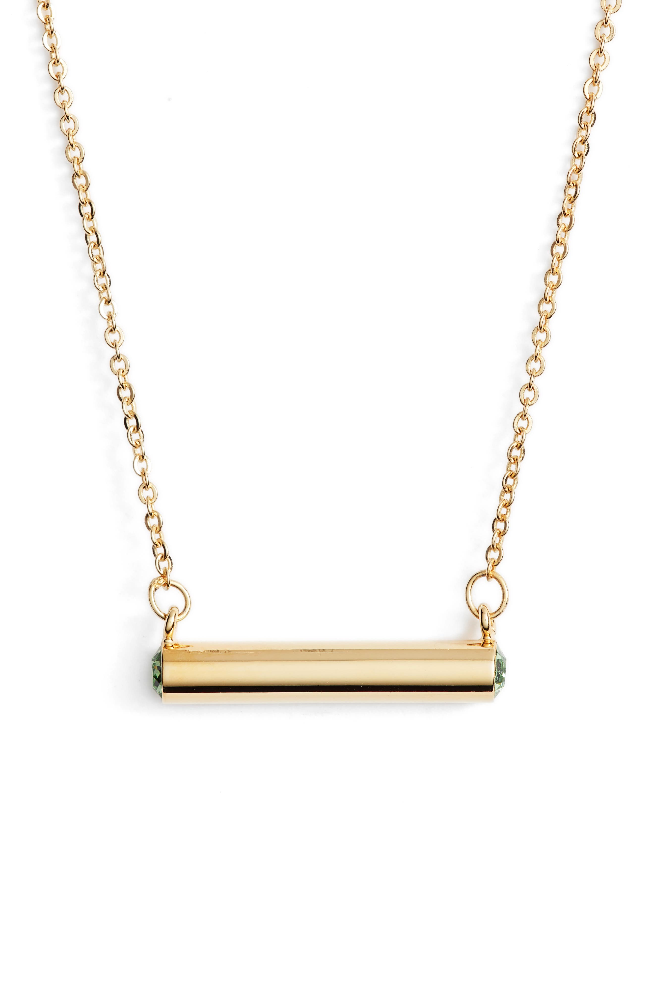 August Crystal Bar Pendant Necklace,                         Main,                         color, Gold