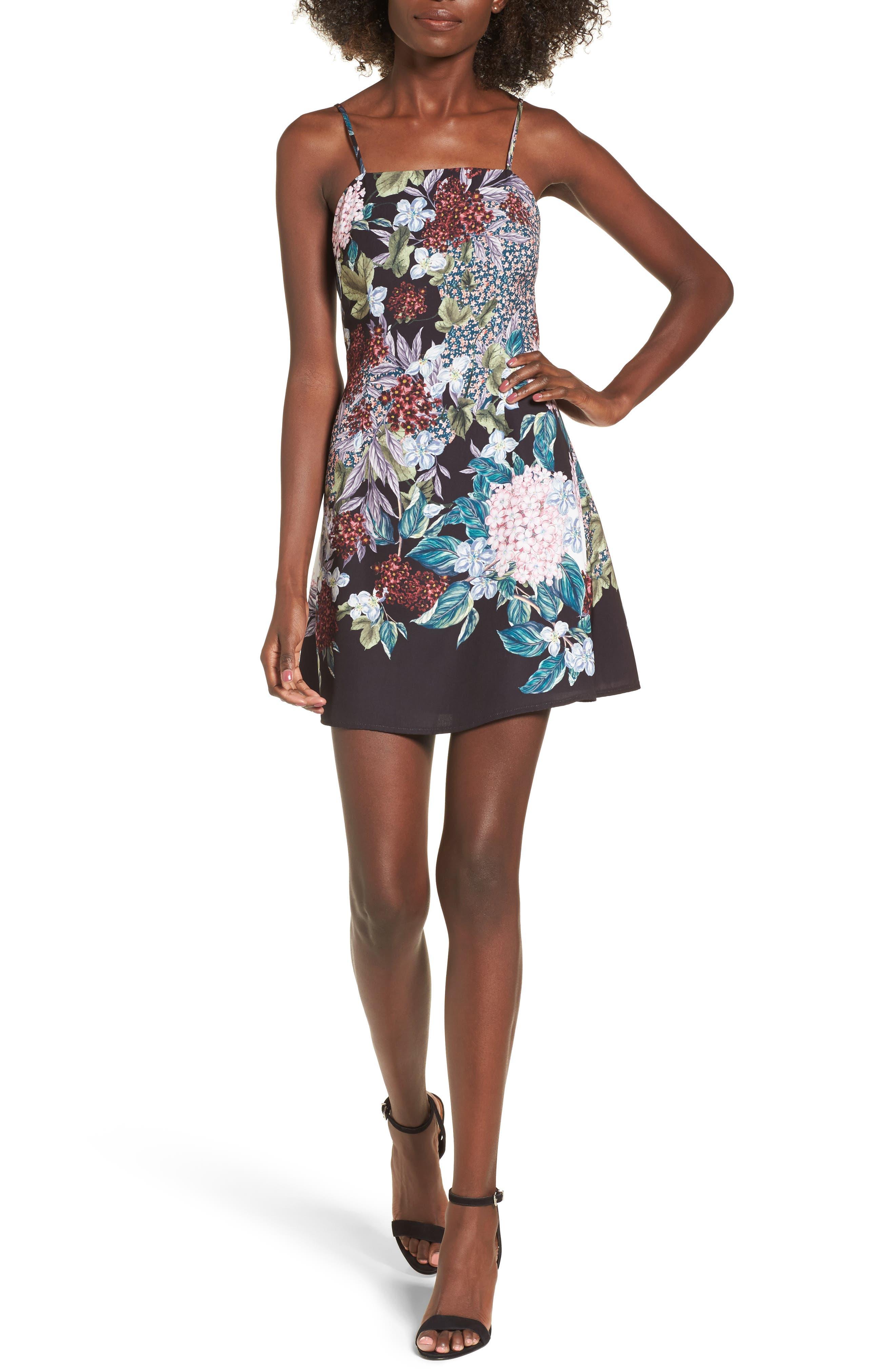 Lost Dreams A-Line Minidress,                         Main,                         color, Multi Floral
