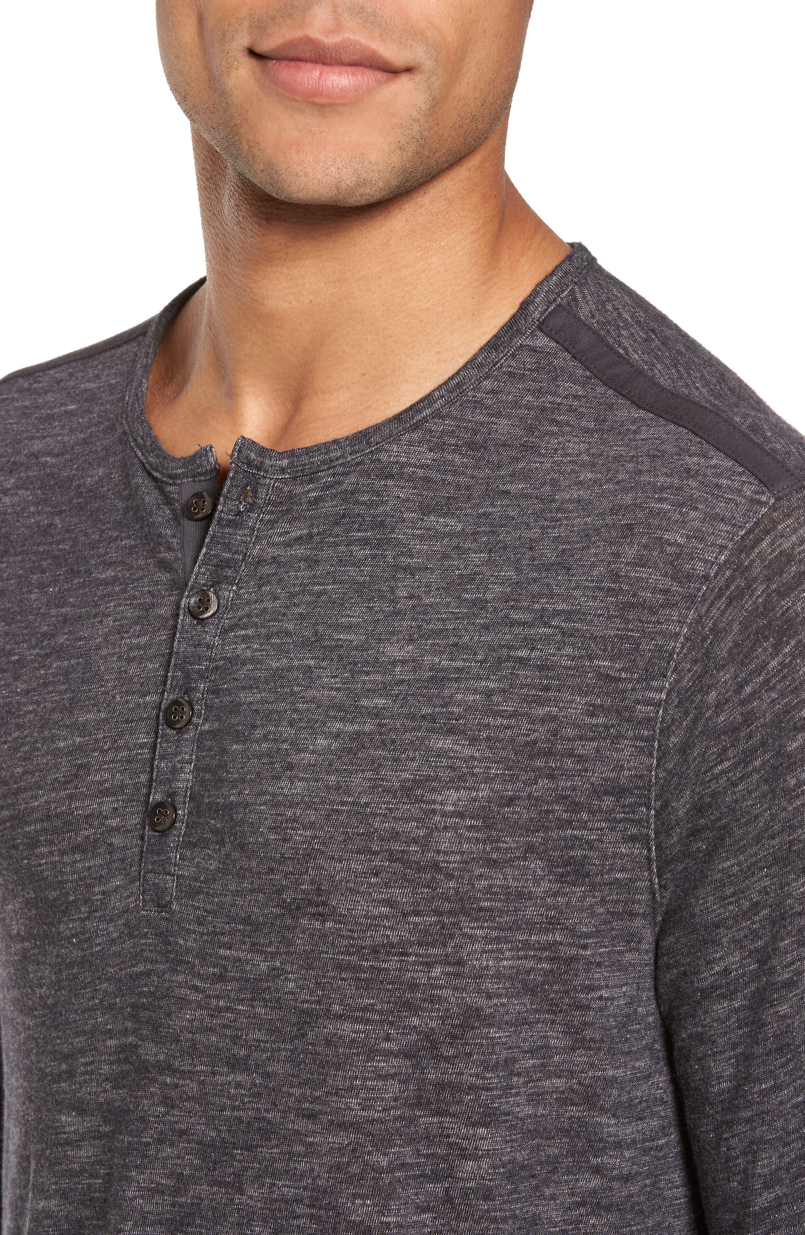 Long Sleeve Slub Knit Henley,                             Alternate thumbnail 4, color,                             Charcoal
