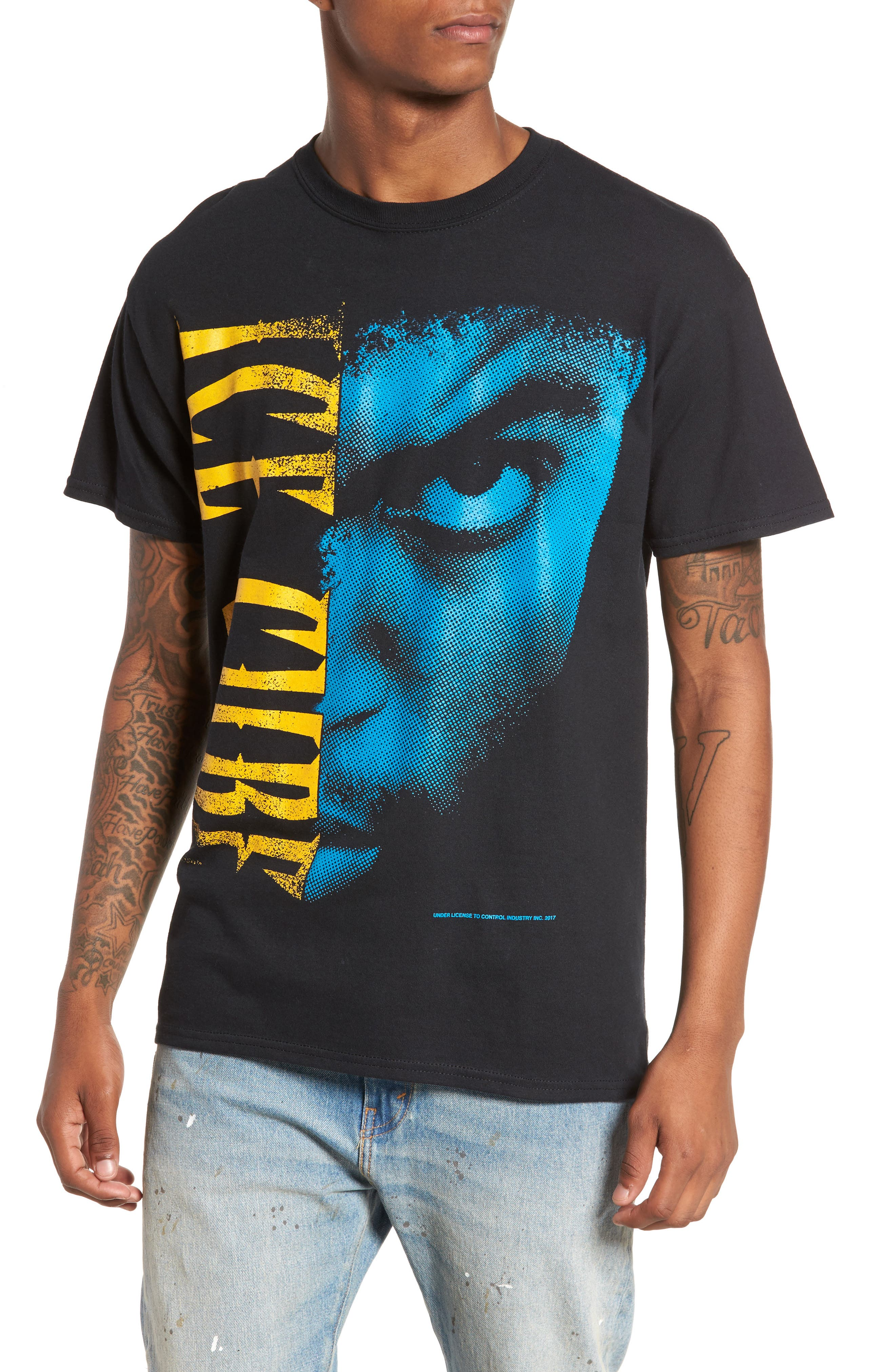 Ice Cube T-Shirt,                         Main,                         color, Black Tee Ice Cube Face