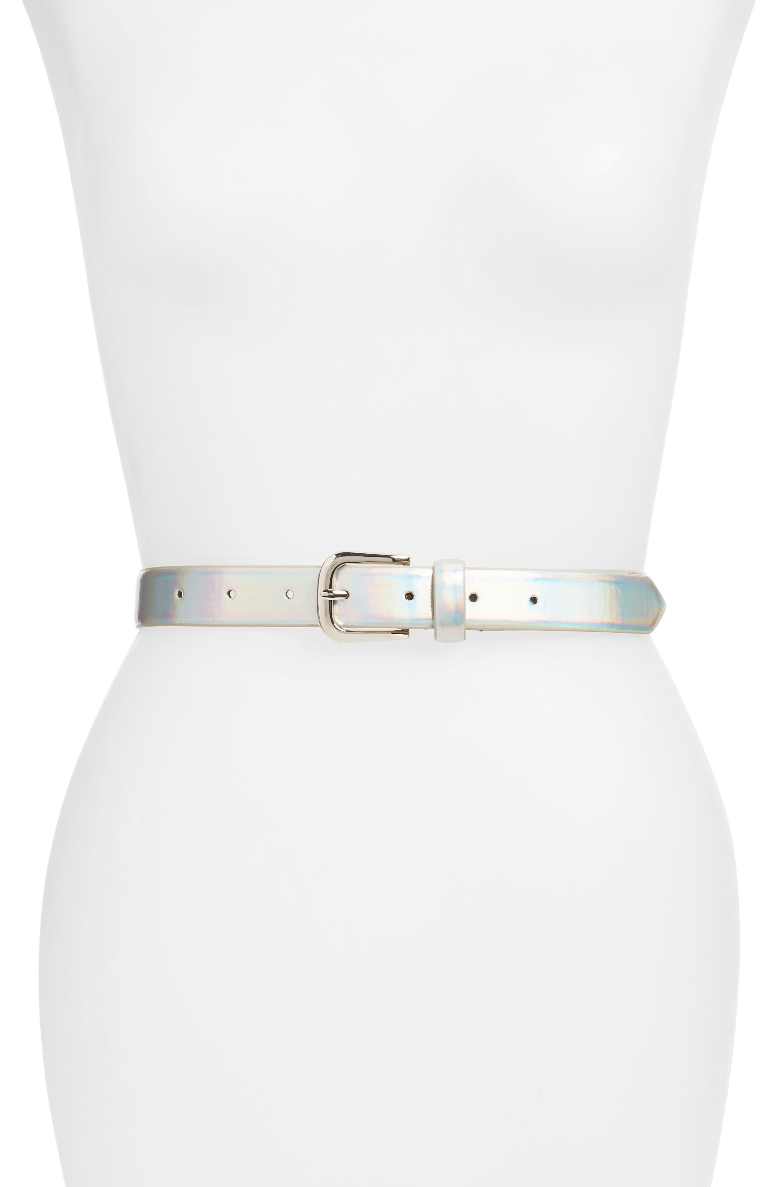Iridescent Belt,                             Main thumbnail 1, color,                             Silver