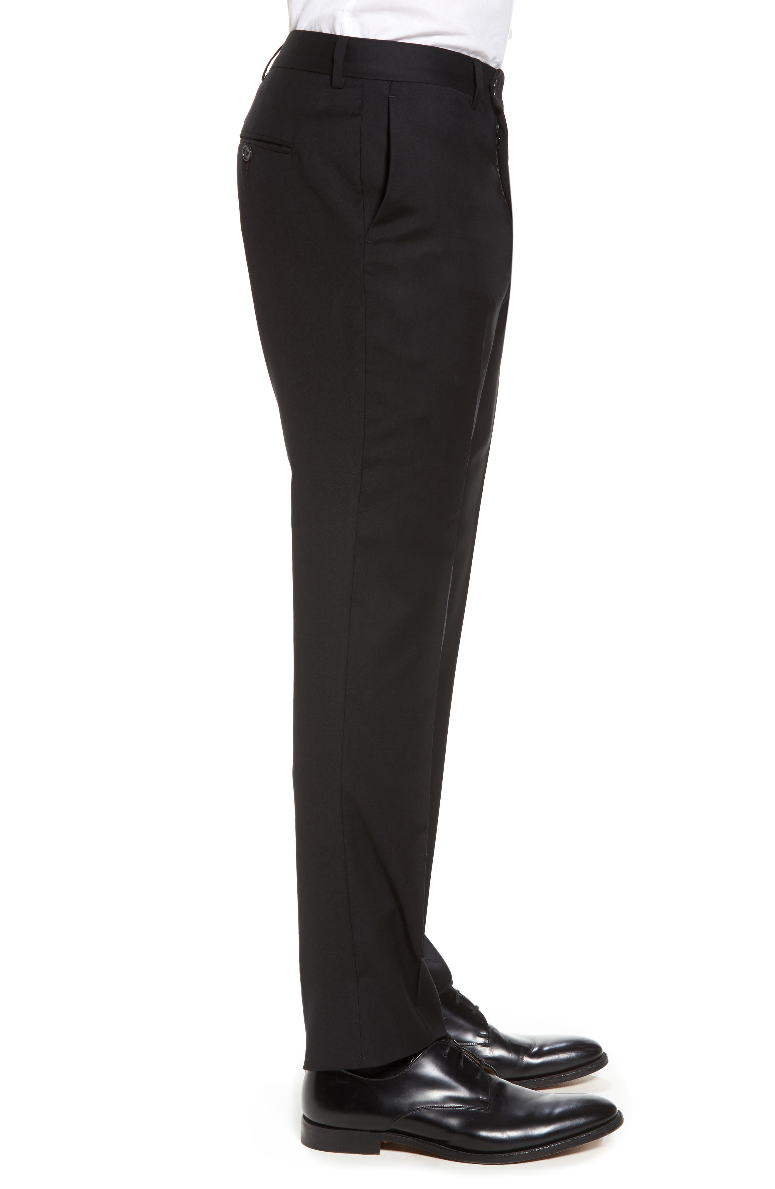 Flat Front Stretch Solid Wool Trousers,                             Alternate thumbnail 3, color,                             Black