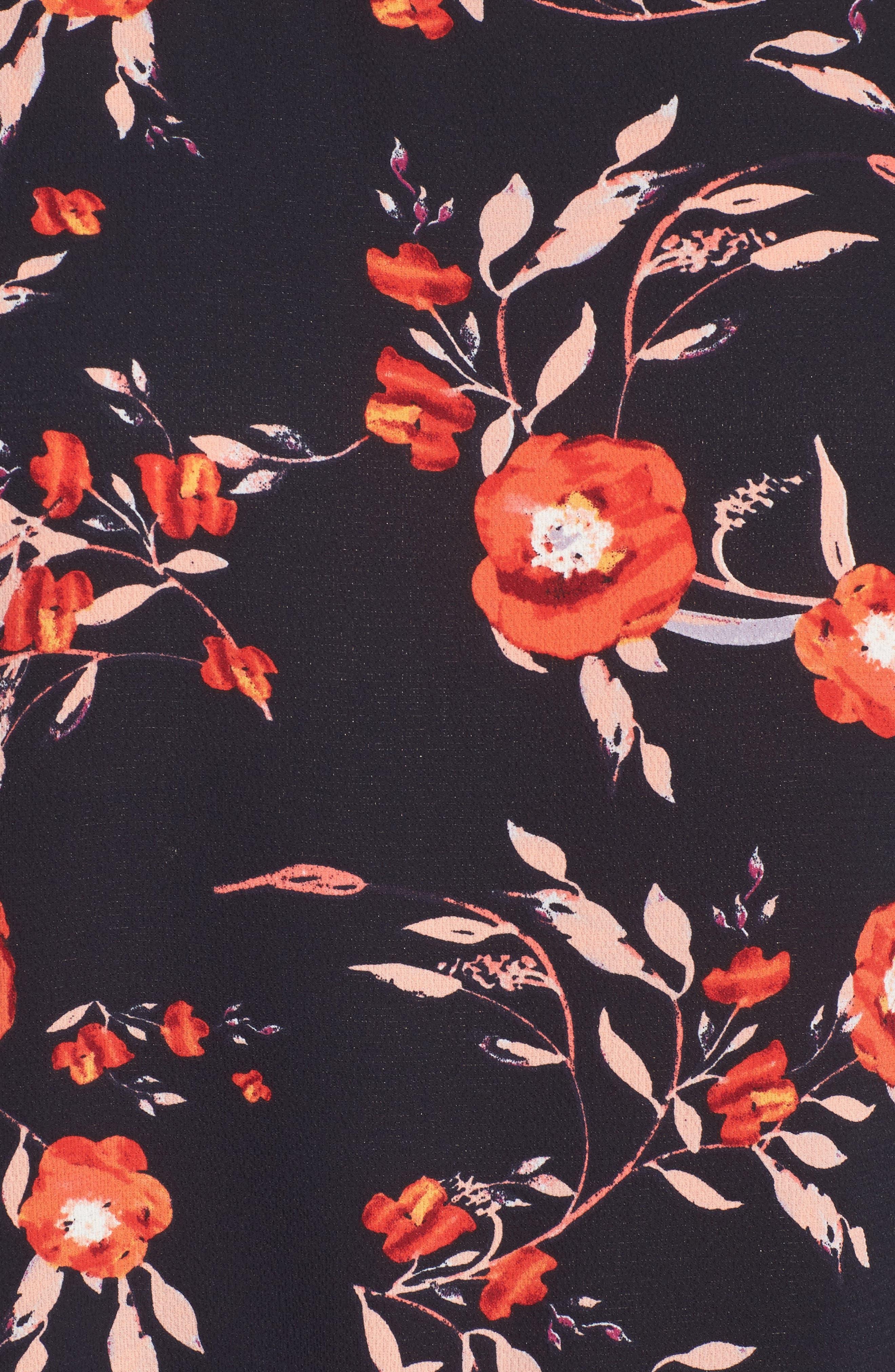 Ruffle Asymmetrical Blouse,                             Alternate thumbnail 5, color,                             Floral Print