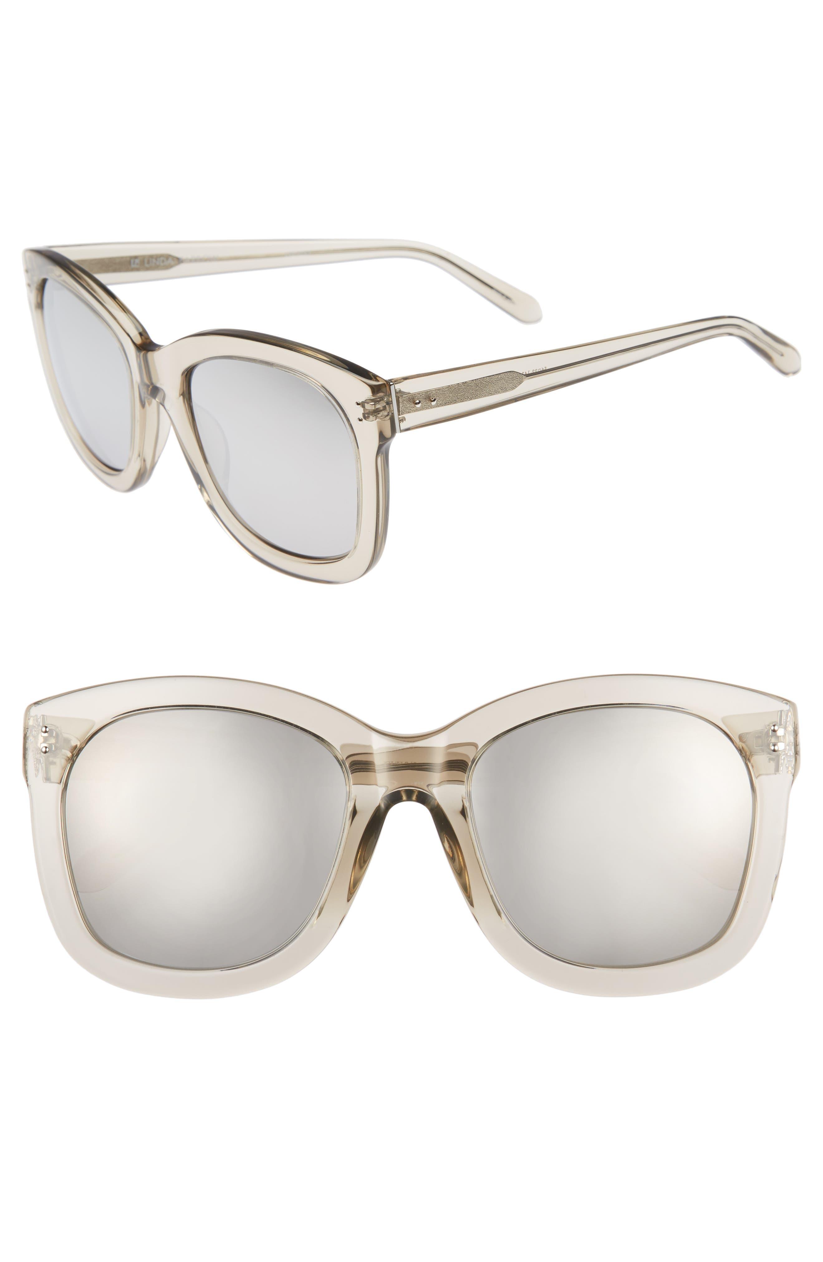 56mm Mirrored Sunglasses,                         Main,                         color, Truffle/ White Gold/ Platinum