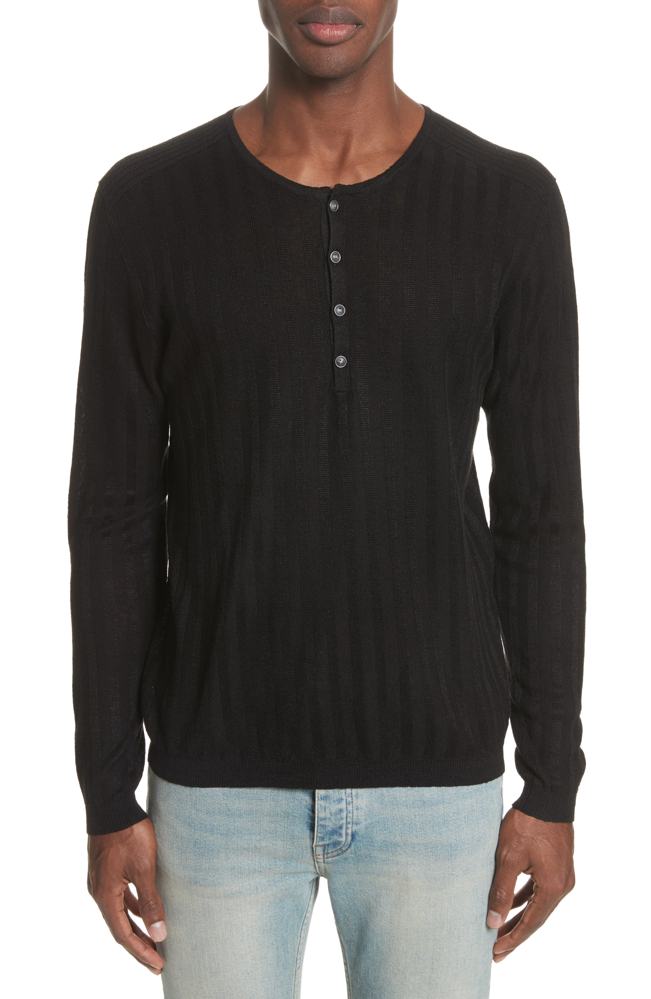John Varvatos Collection Ribbed Linen Henley
