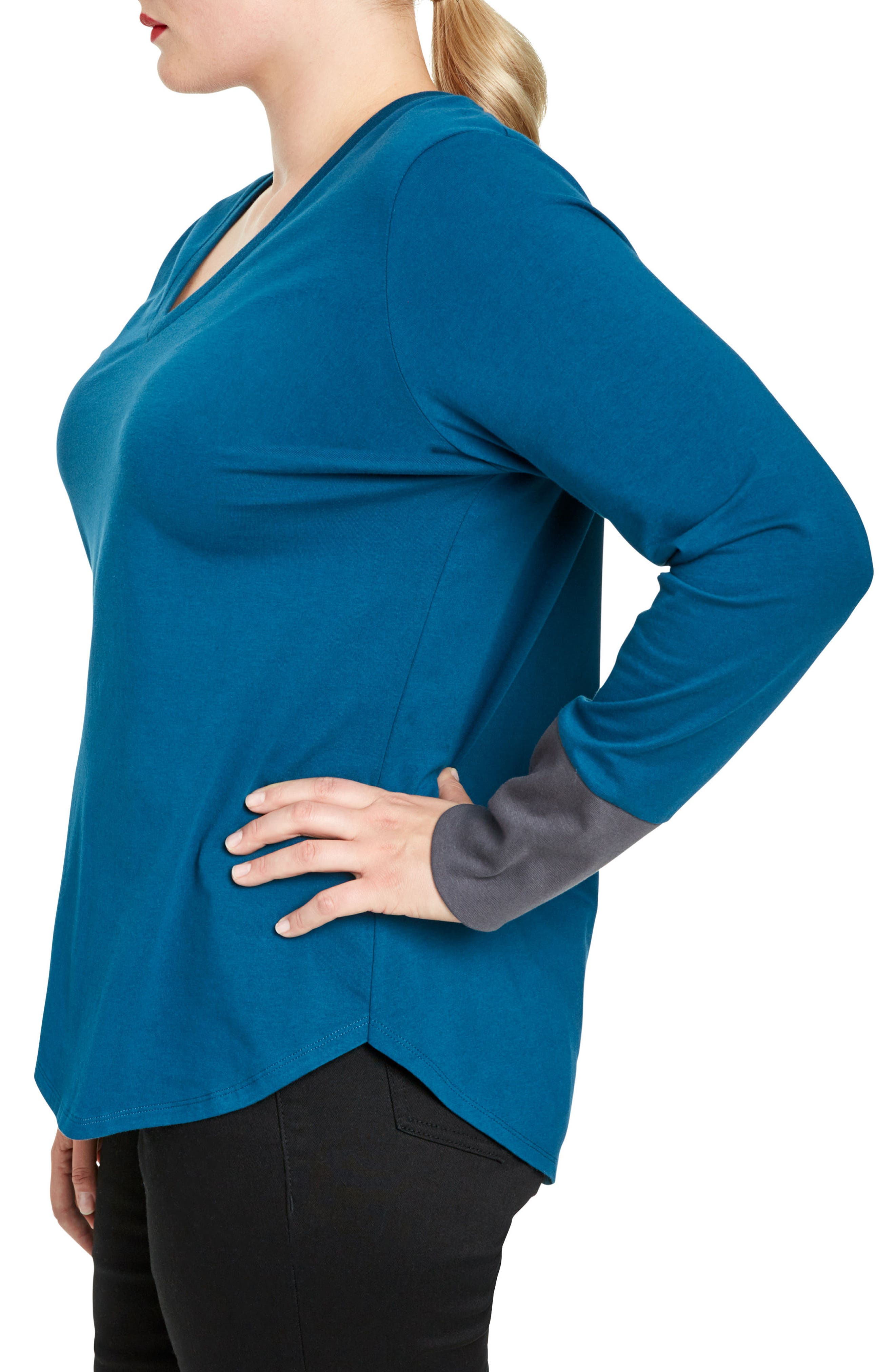 Rhine Colorblock Cuff Top,                             Alternate thumbnail 3, color,                             Marine/ Slate