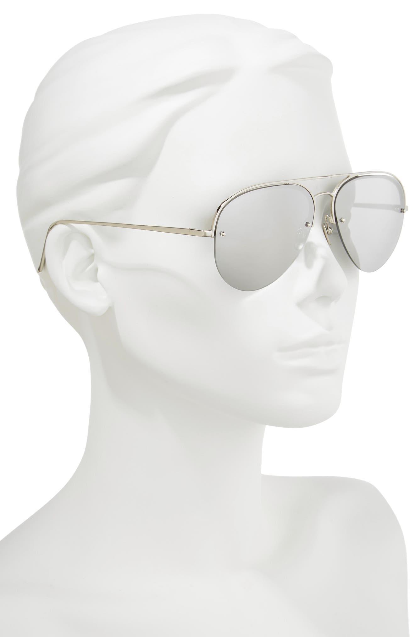 60mm Mirrored 18 Karat Gold Aviator Sunglasses,                             Alternate thumbnail 2, color,                             White Gold/ Platinum