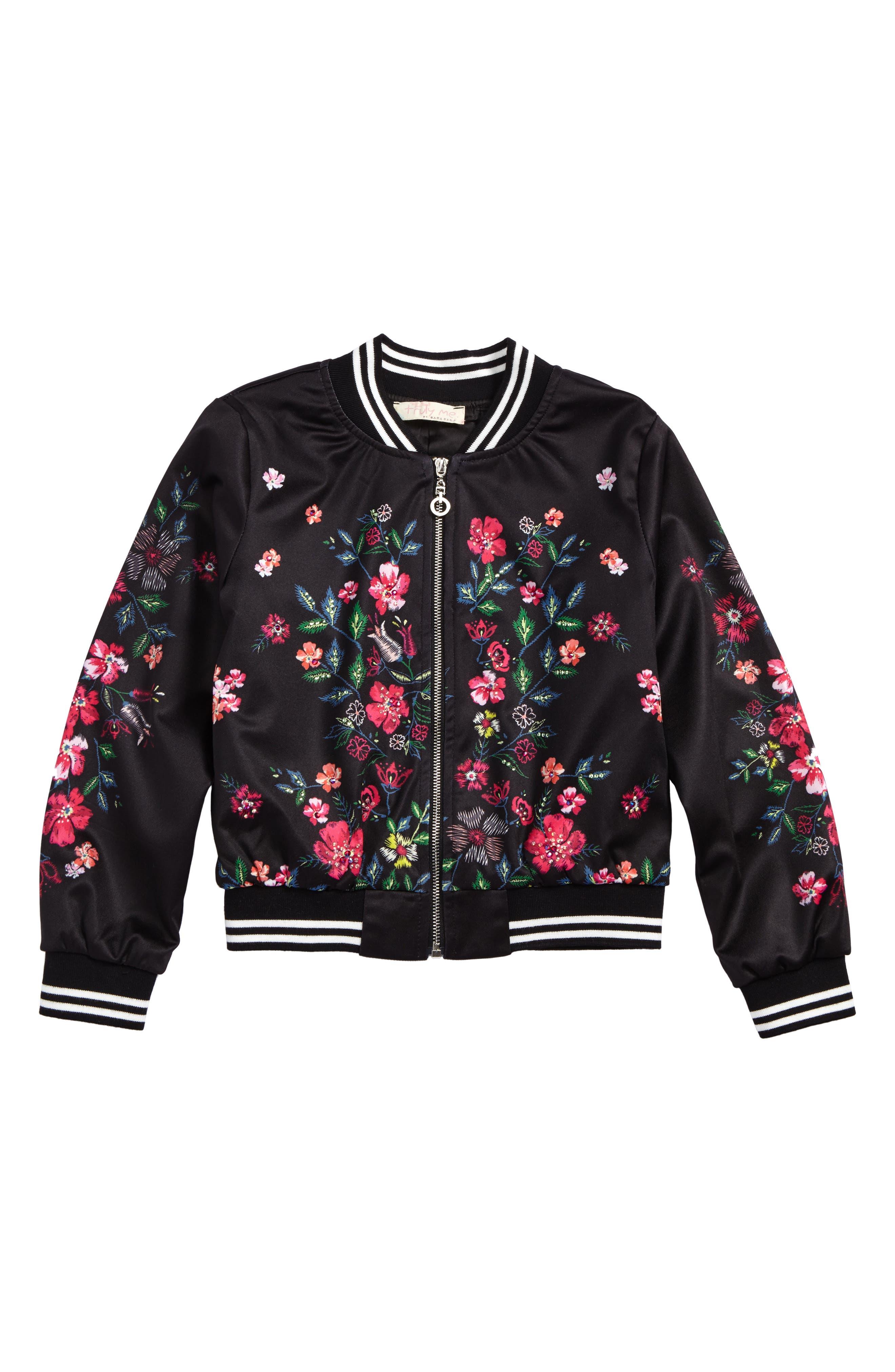 Floral Print Bomber Jacket,                         Main,                         color, Black Multi