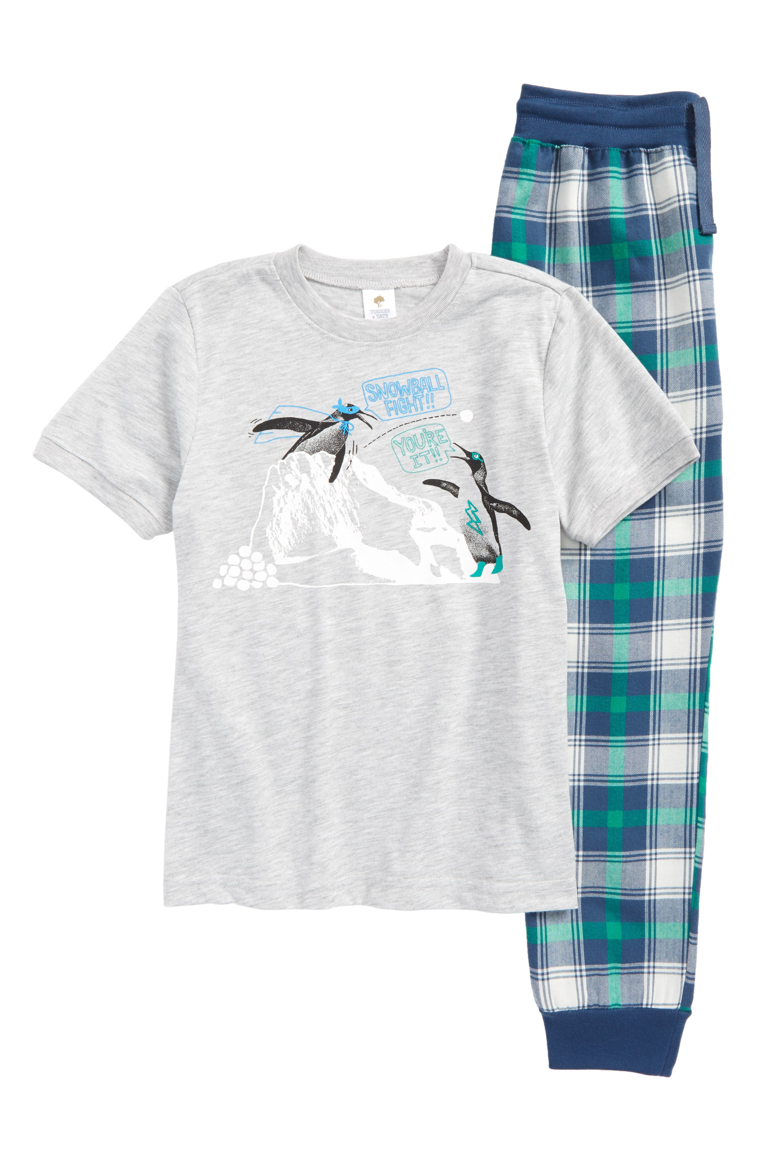 Graphic Two-Piece Pajamas Set,                         Main,                         color, Grey Ash Heather Penguin Fight