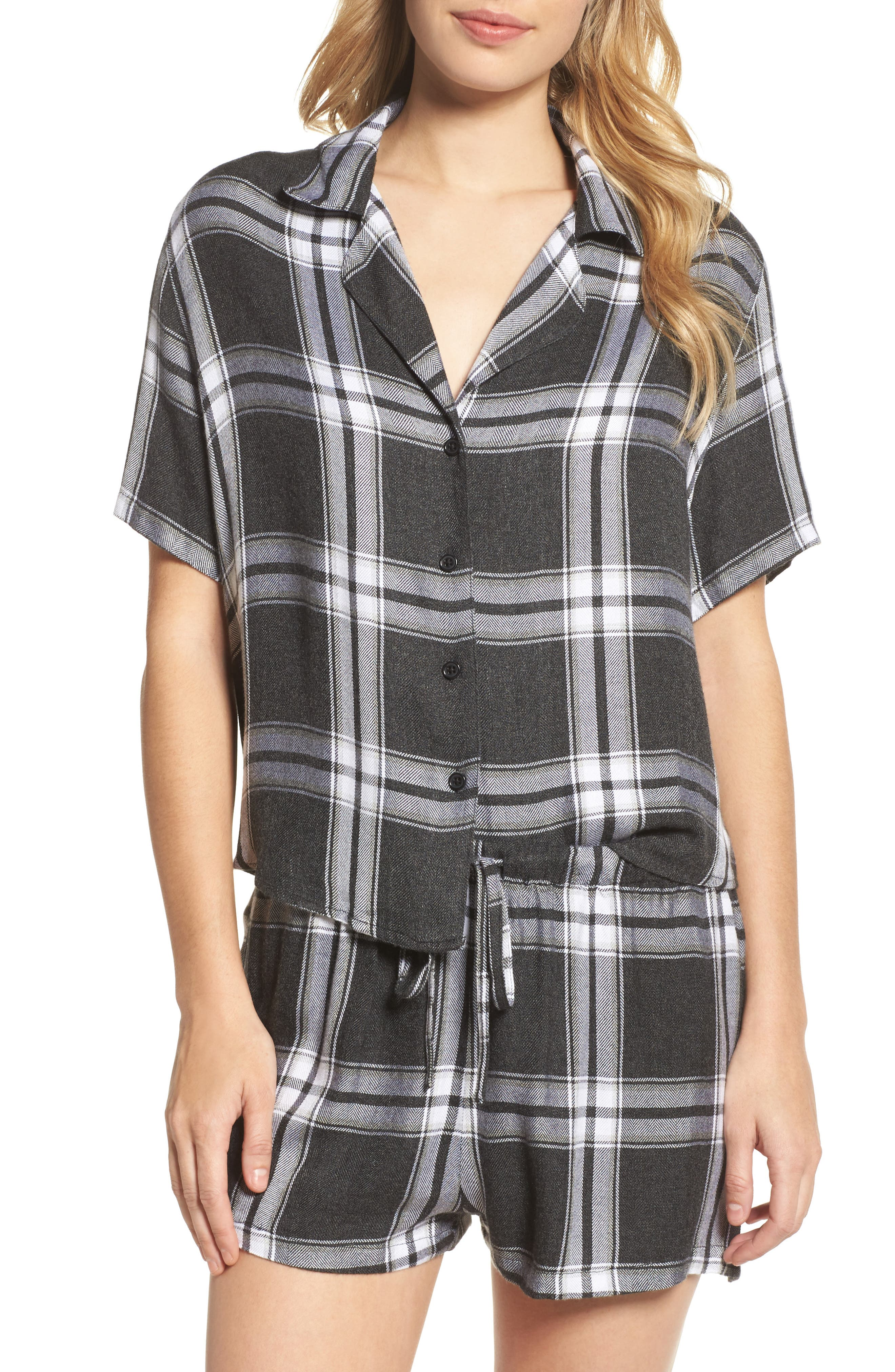 Plaid Short Pajamas,                         Main,                         color, Ash/ Bone