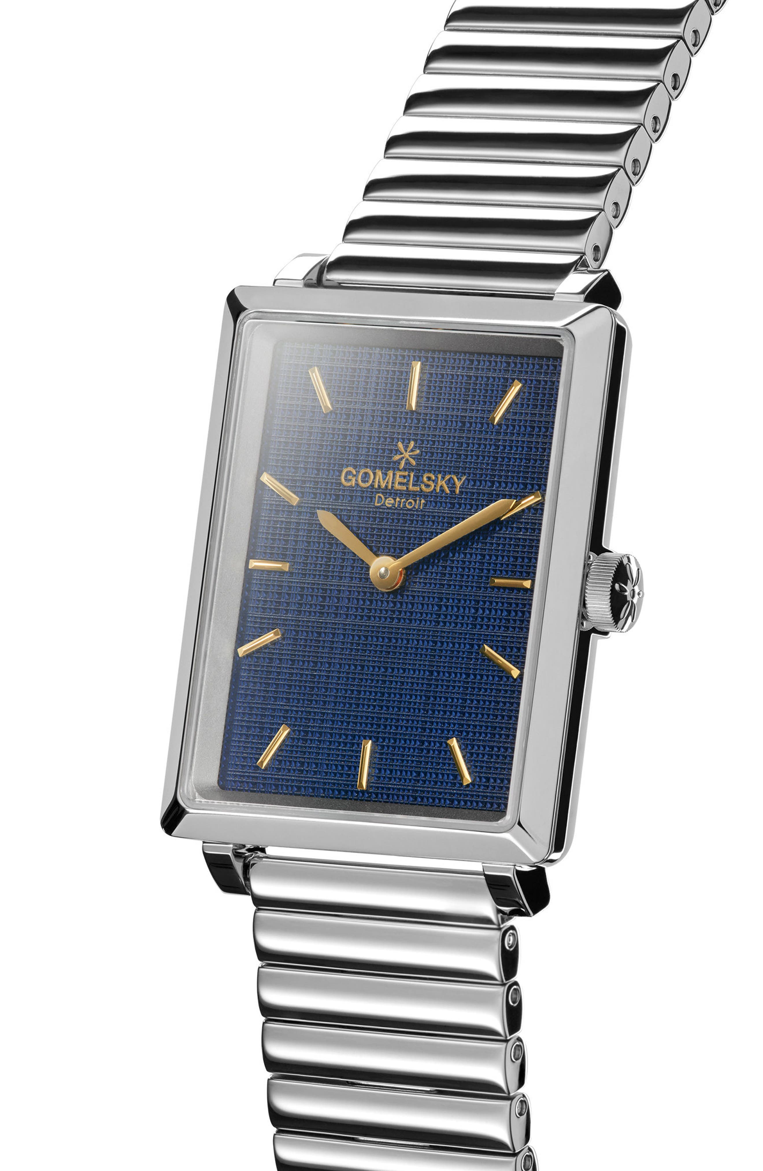 The Shirley Fromer Bracelet Watch, 32mm x 25mm,                             Alternate thumbnail 5, color,                             Silver/ Blue/ Silver