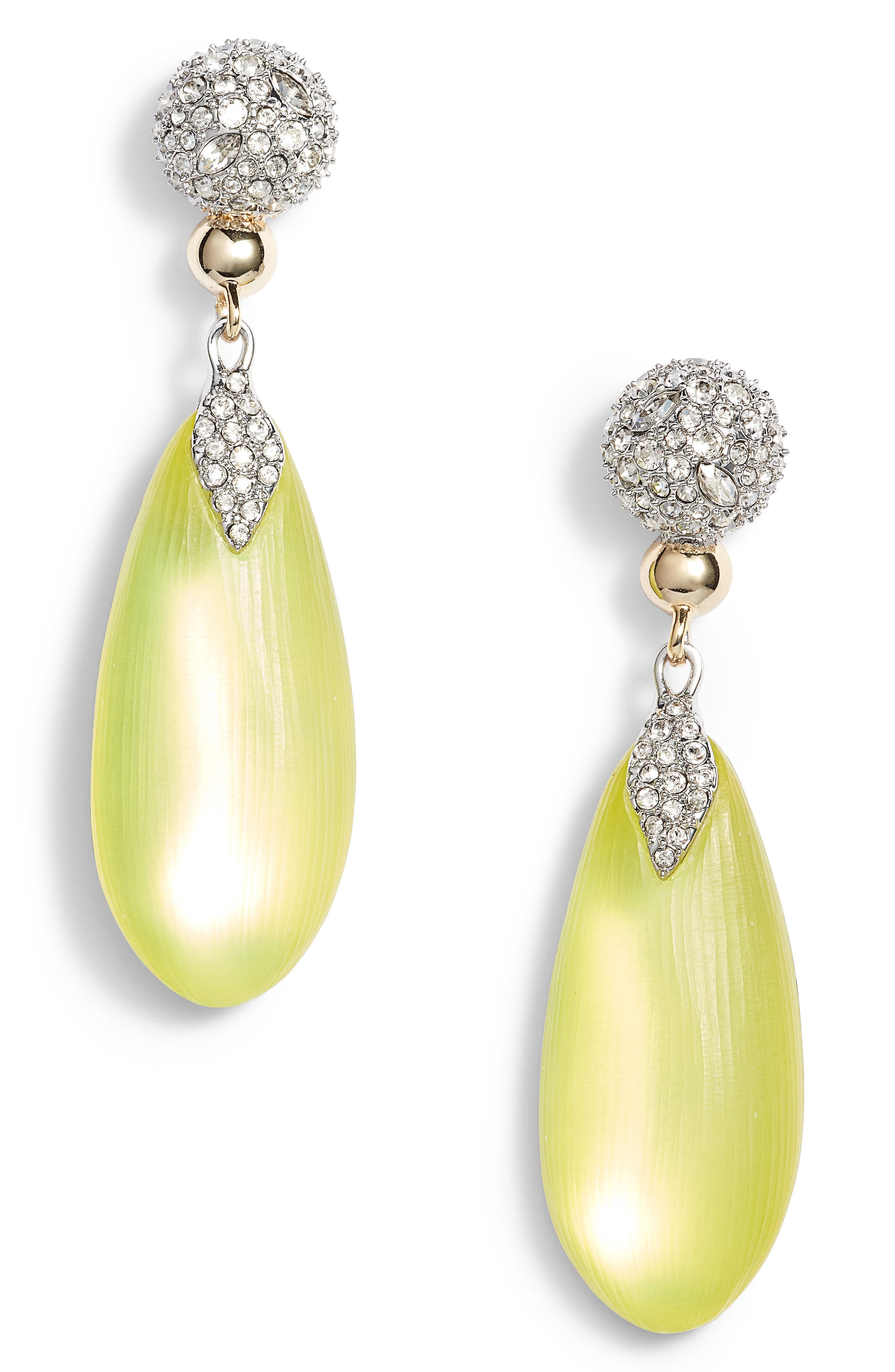 Crystal Encrusted Lucite<sup>®</sup> Drop Earrings,                         Main,                         color, Titanium Yellow