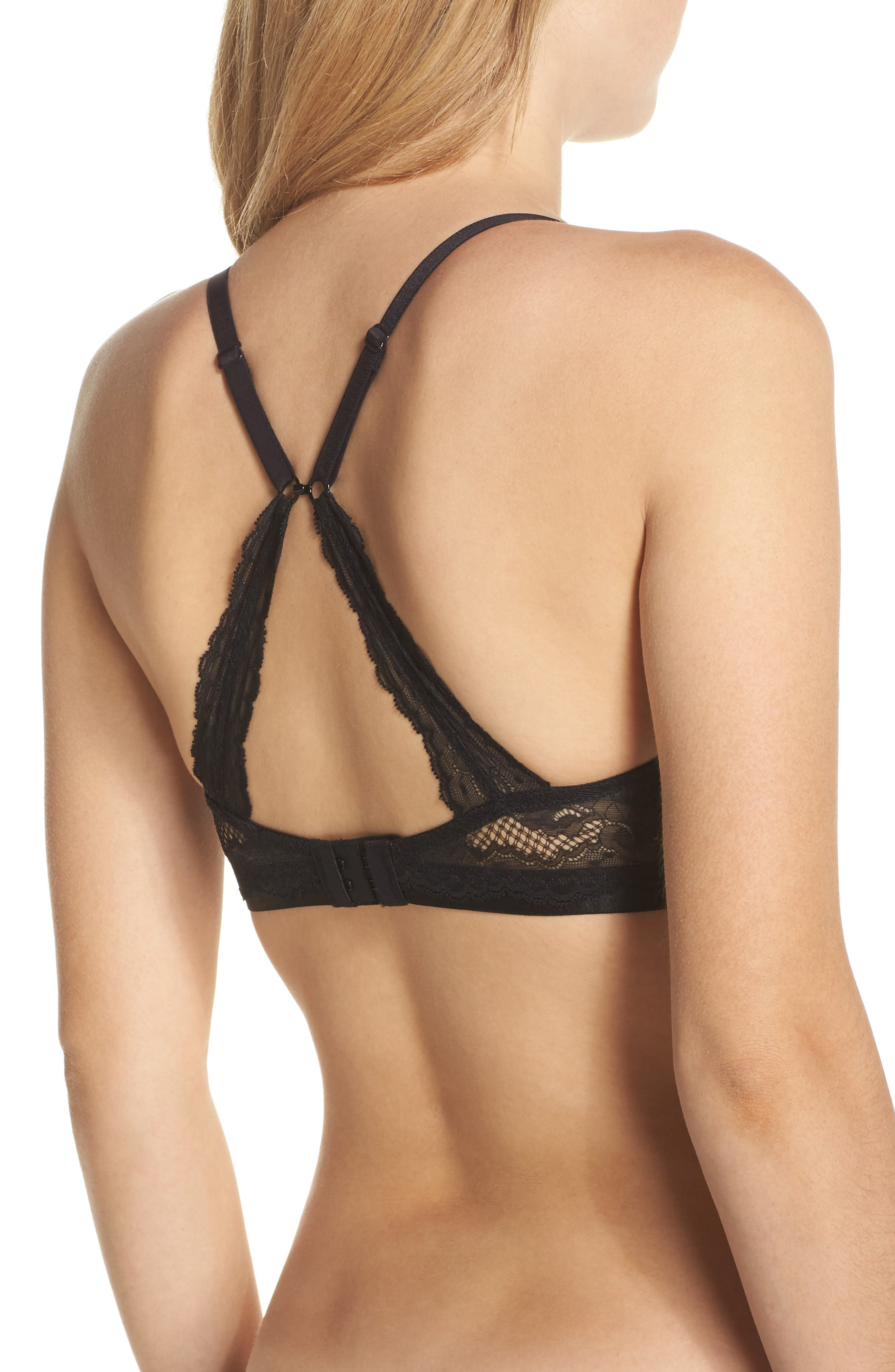 'Beautifully Basic' Lace Trim Underwire Plunge Bra,                             Alternate thumbnail 3, color,                             Black