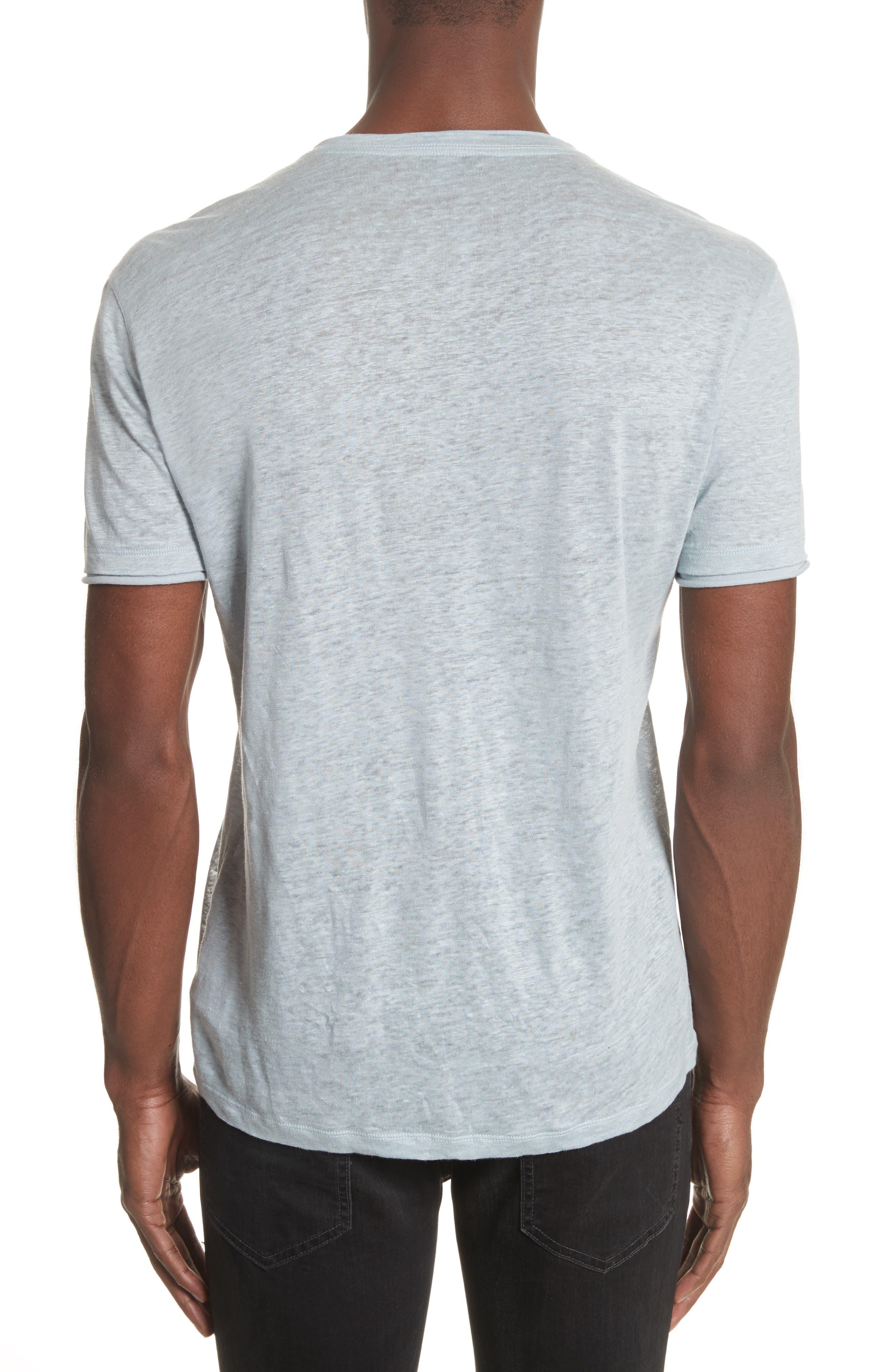 Linen V-Neck T-Shirt,                             Alternate thumbnail 2, color,                             Powder Blue