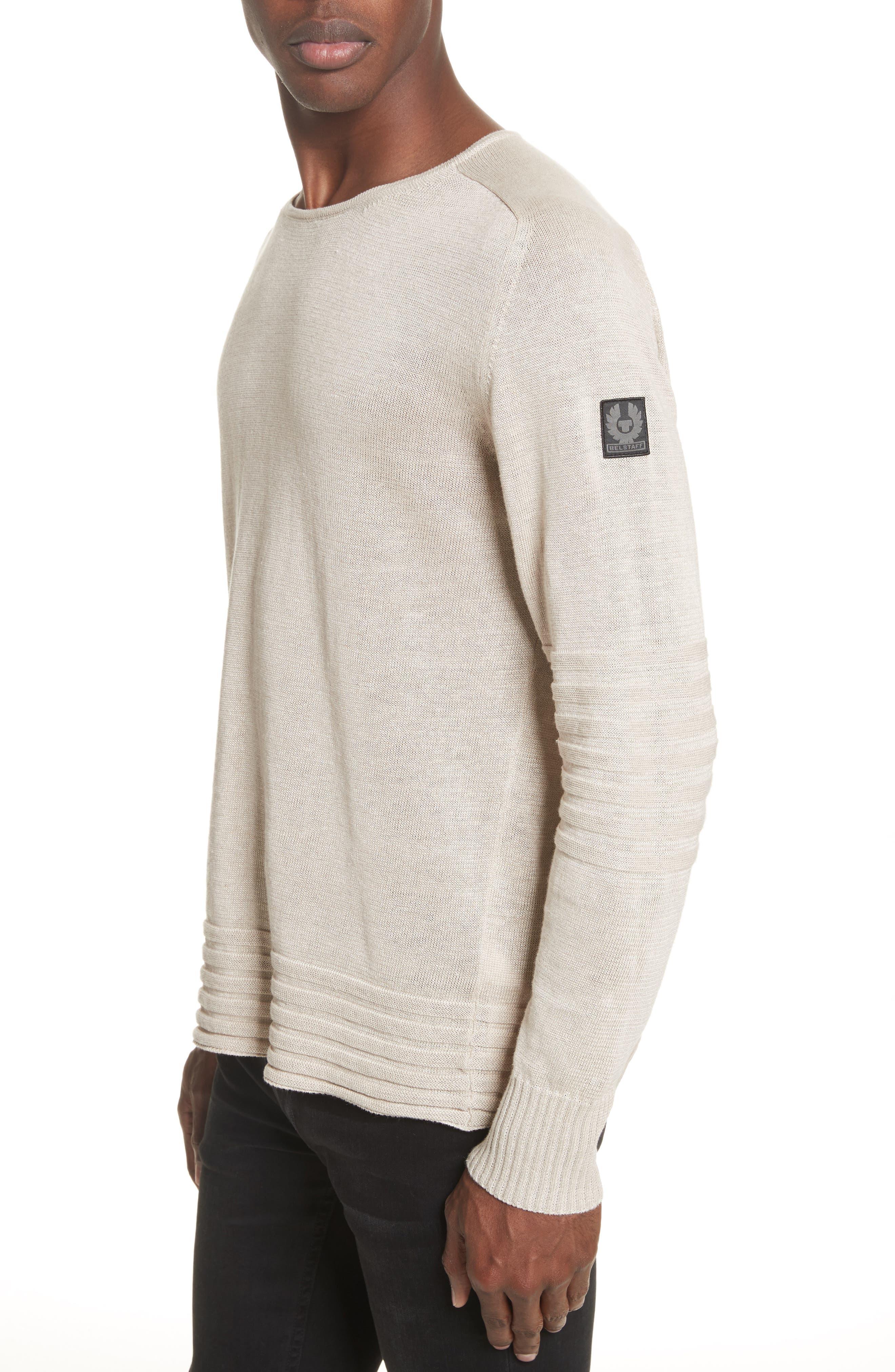 Exford Linen Crewneck Sweater,                             Alternate thumbnail 3, color,                             Light Sand
