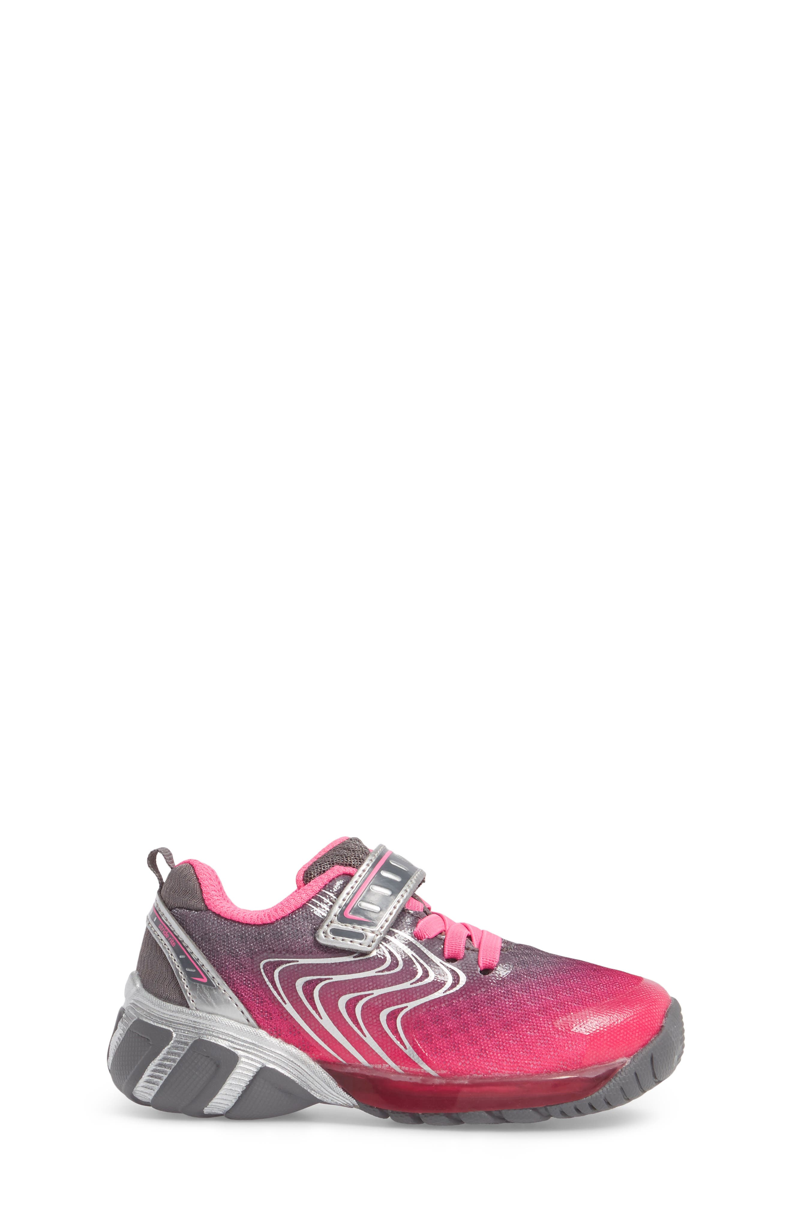 Lights Lux Light-Up Sneaker,                             Alternate thumbnail 3, color,                             Pink Synthetic/ Textile