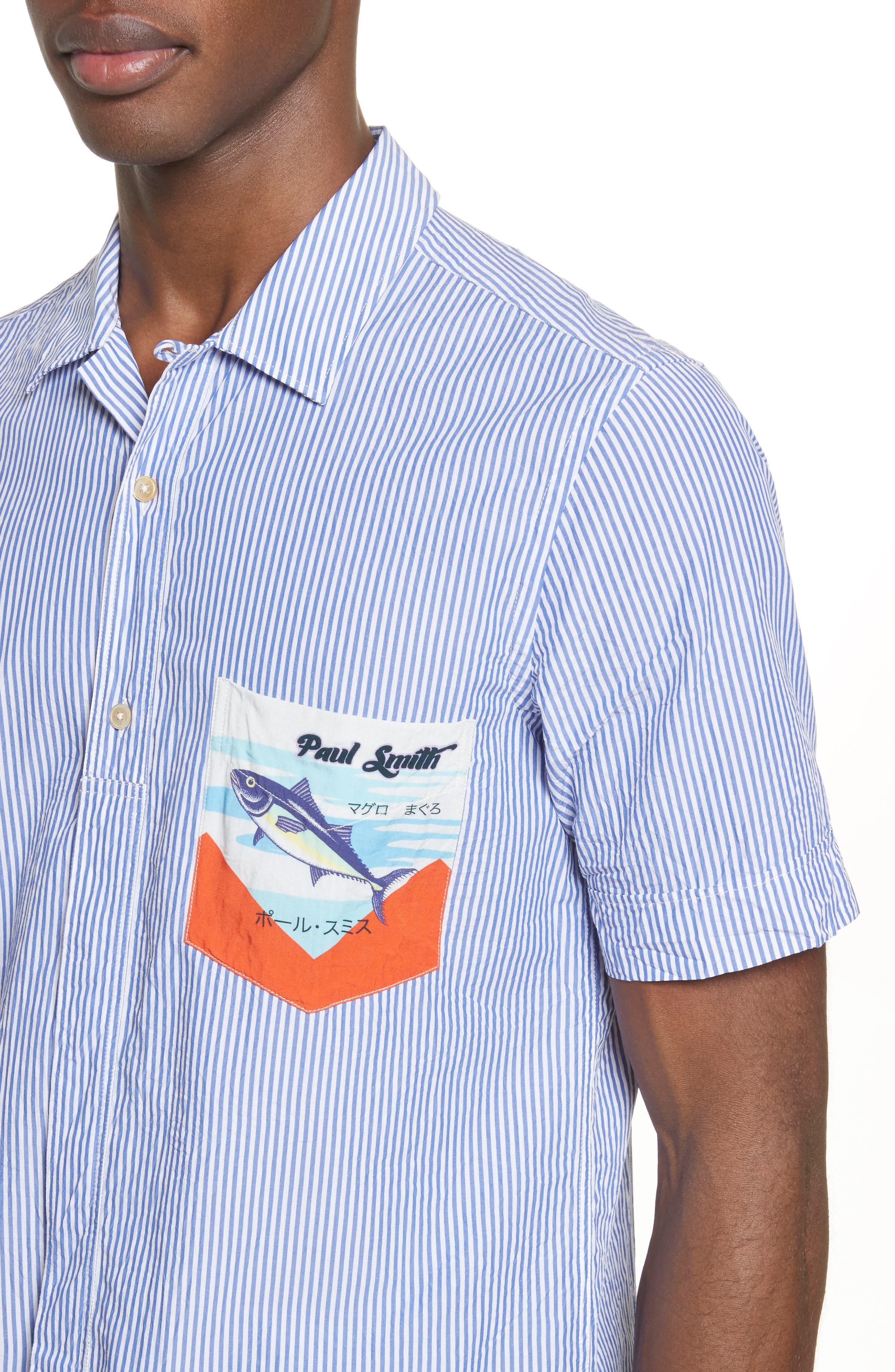 Stripe Seersucker Camp Shirt,                             Alternate thumbnail 4, color,                             41 Blue Multi