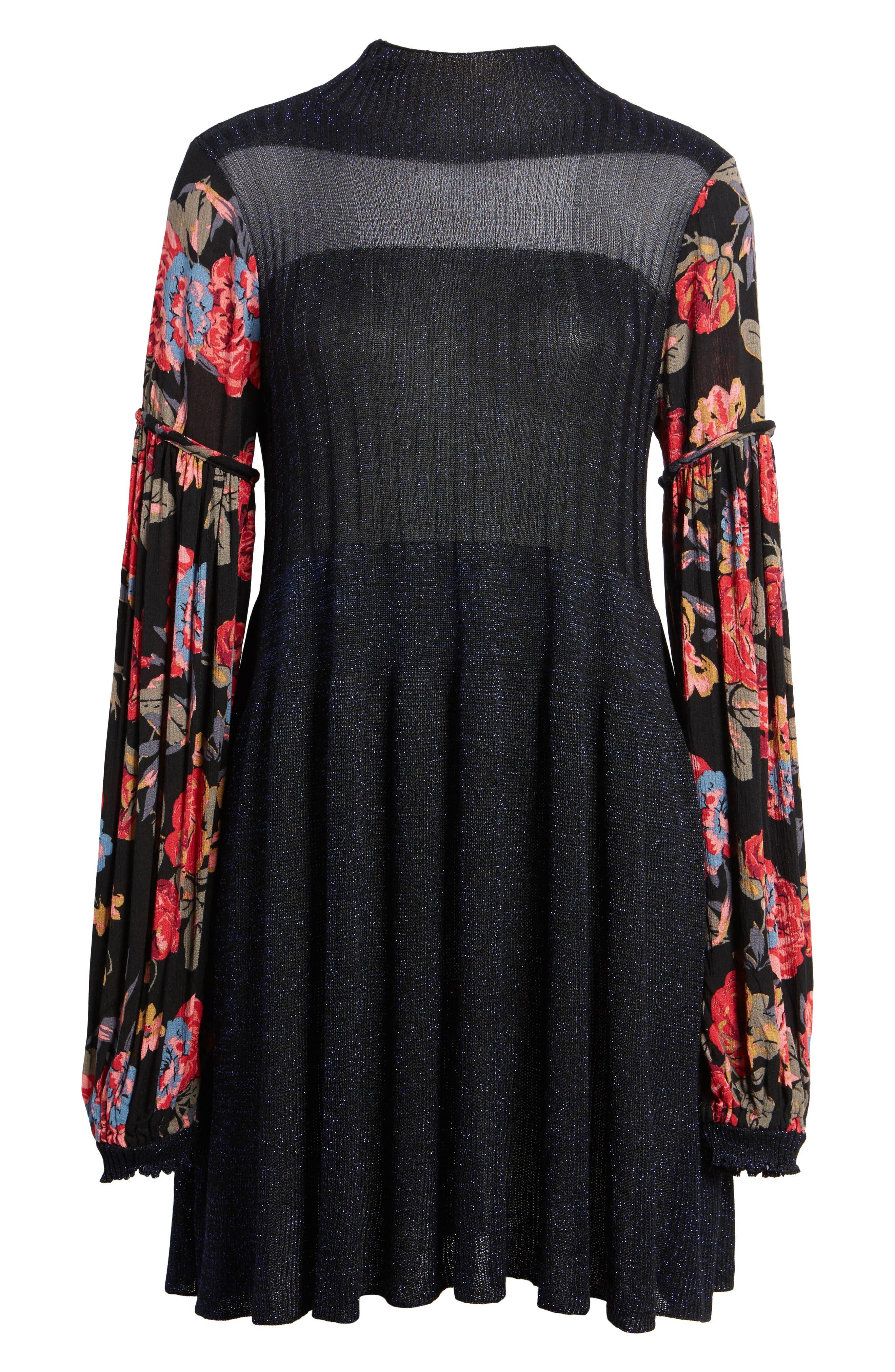 Rose & Shine Sweater Dress,                             Alternate thumbnail 6, color,                             Black Combo