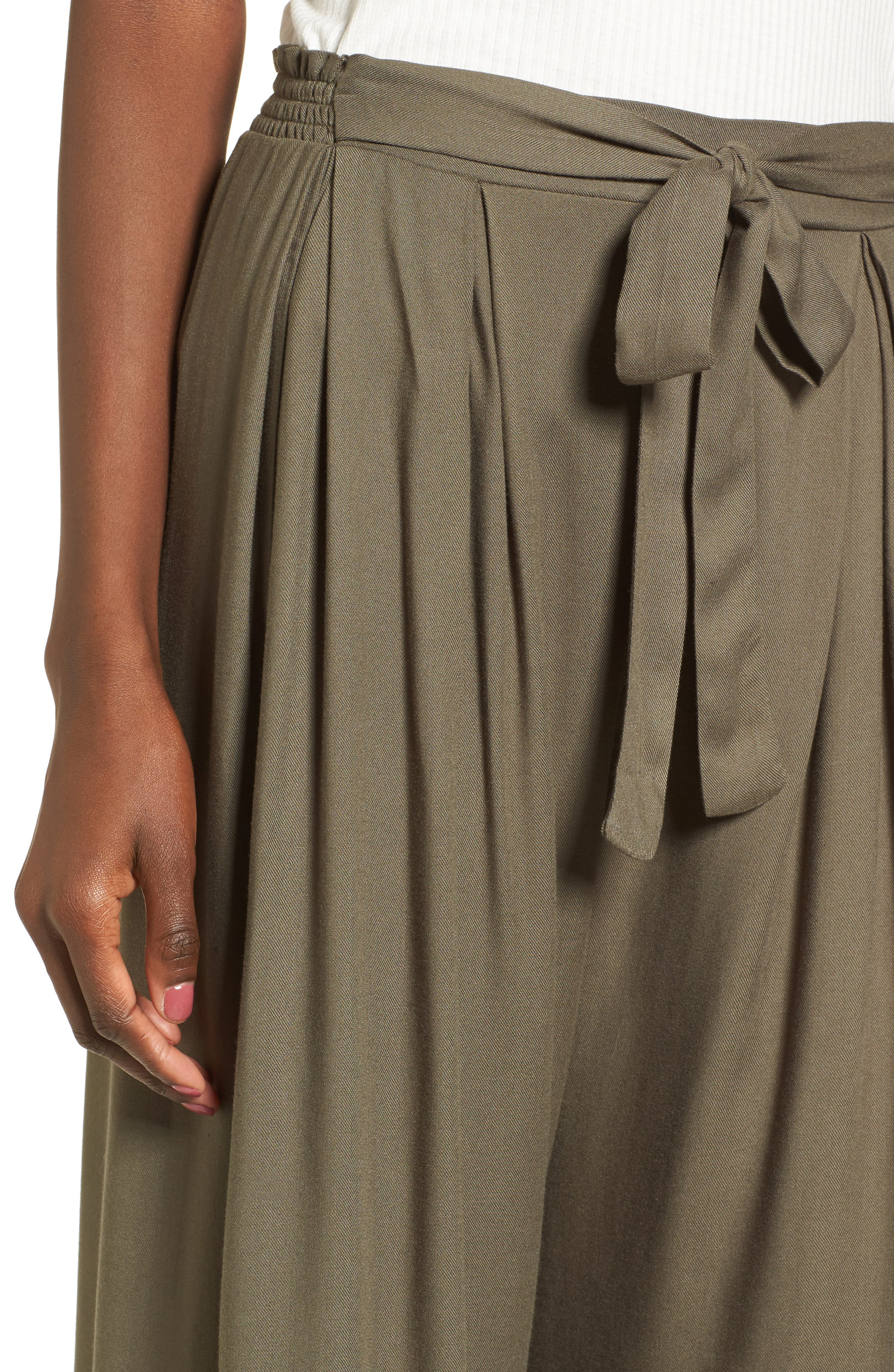 Tie Waist Wide Leg Pants,                             Alternate thumbnail 4, color,                             Olive Sarma