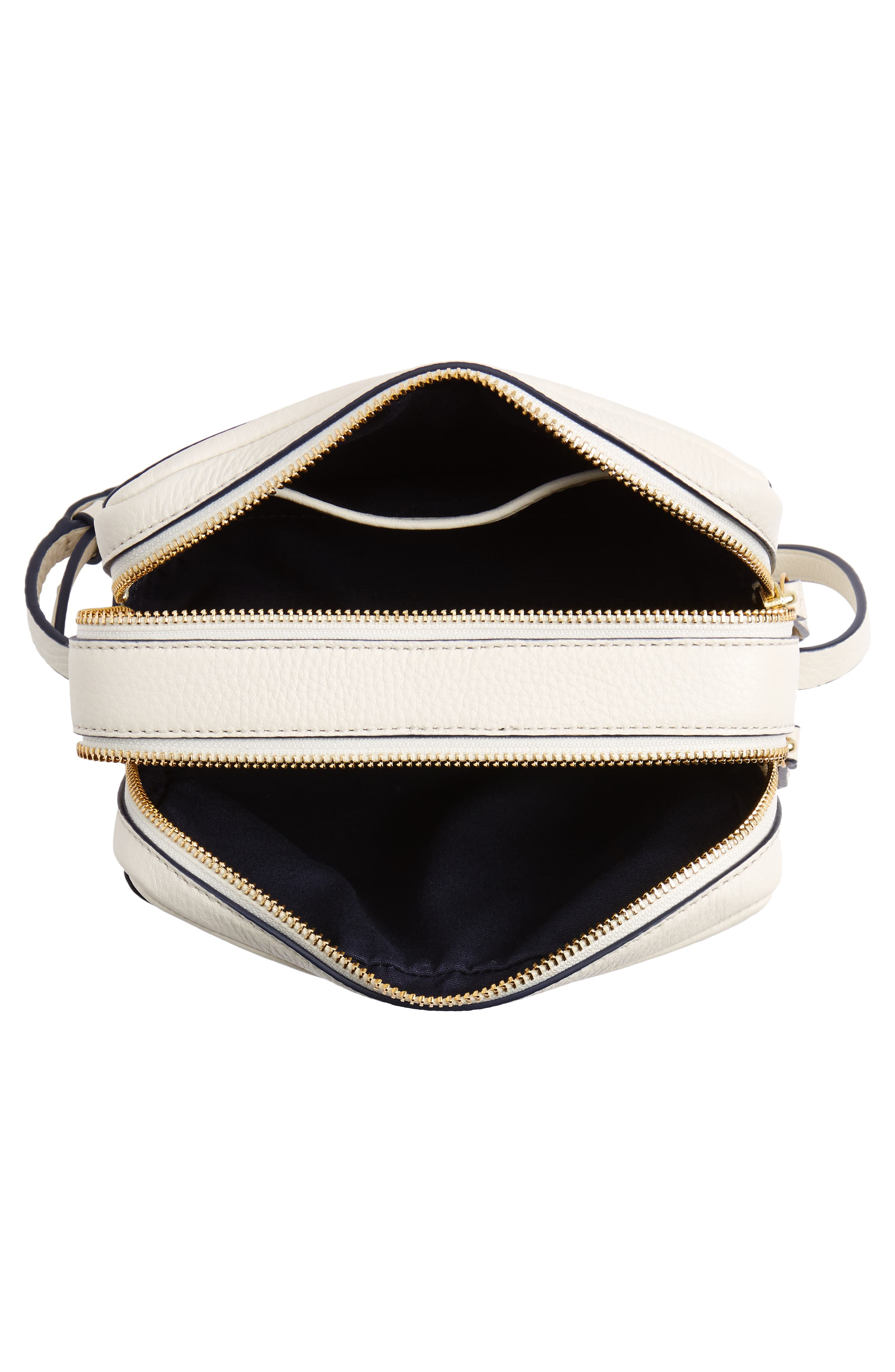Block-T Double Zip Leather Crossbody Bag,                             Alternate thumbnail 4, color,                             New Ivory