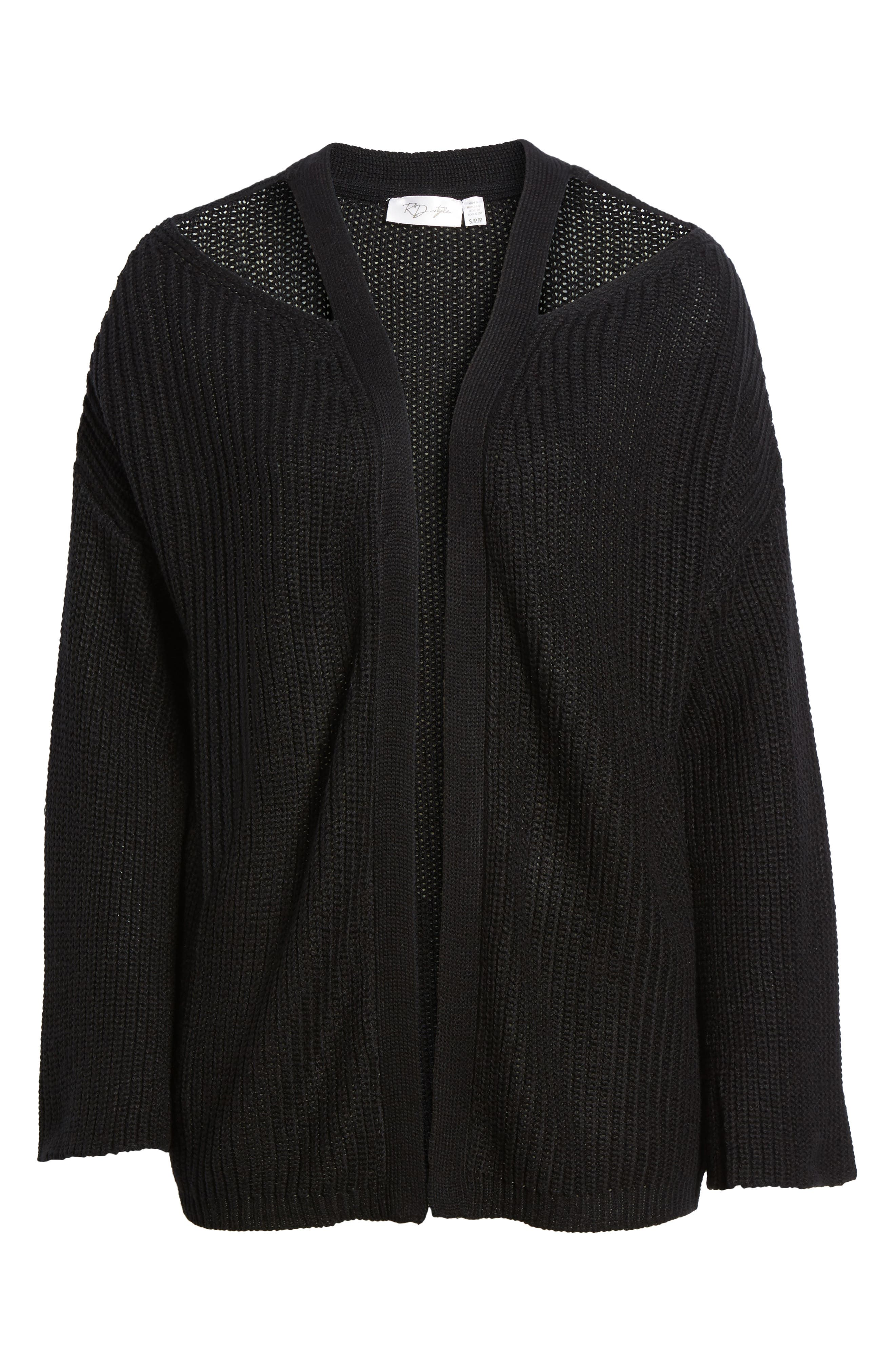 Cutout Cardigan,                             Alternate thumbnail 6, color,                             Black