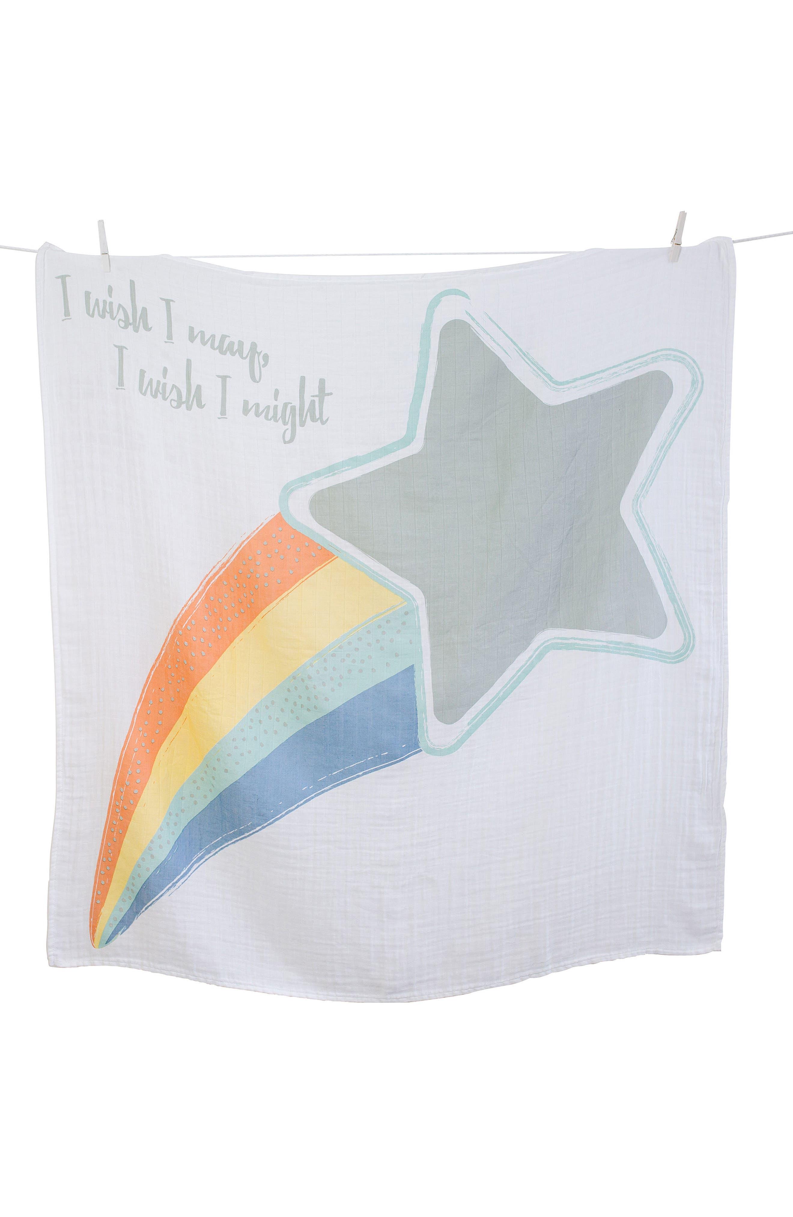 Baby's First Year - I Wish I May Muslin Blanket & Milestone Card Set,                         Main,                         color, Grey