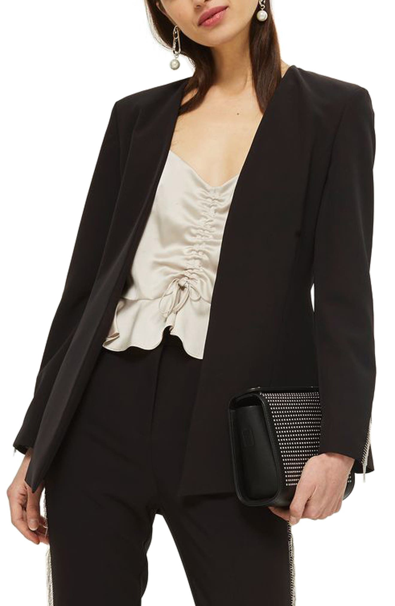 Chain Frill Jacket,                             Main thumbnail 1, color,                             Black