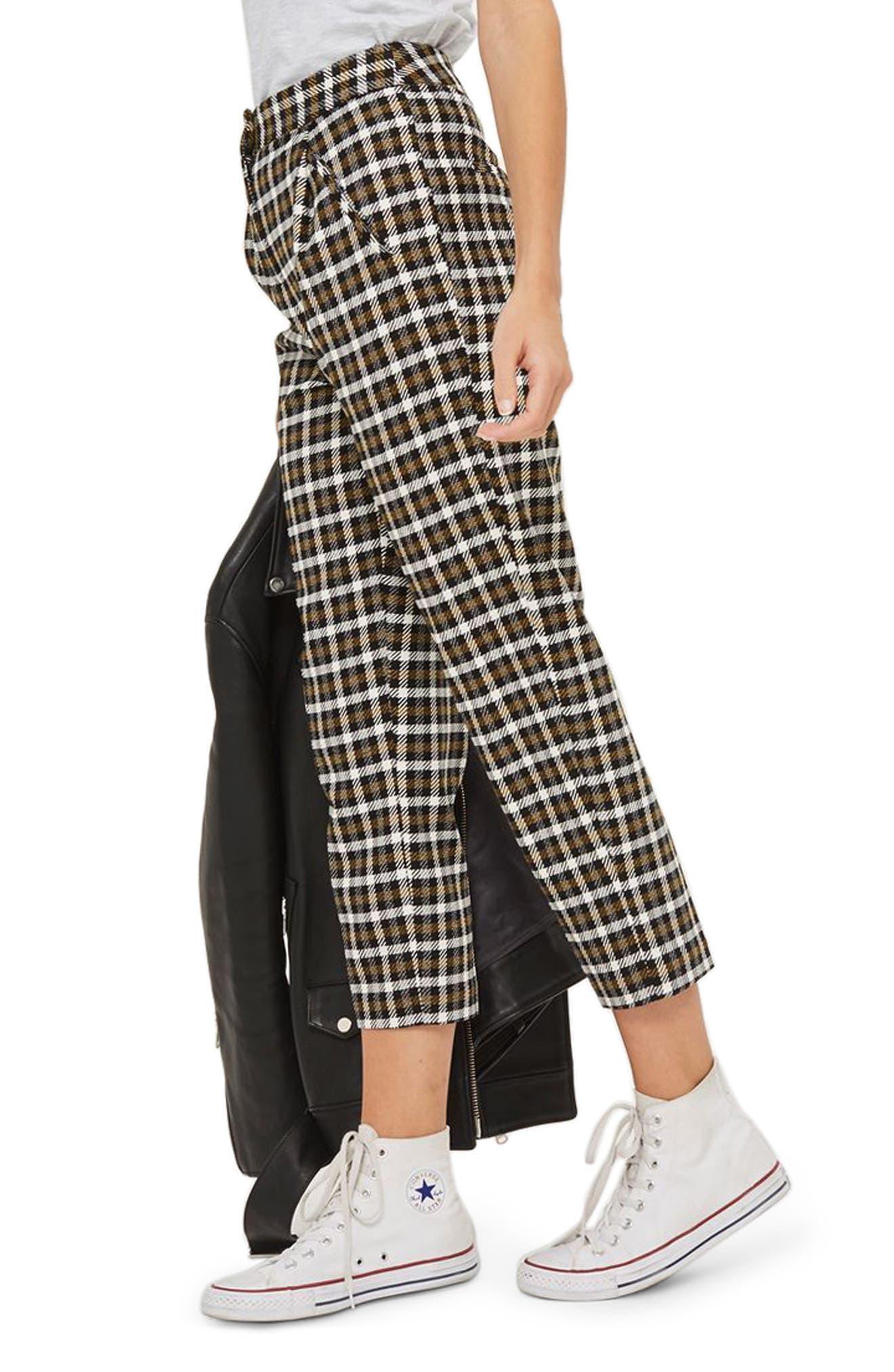 Monica Checked Peg Trousers,                         Main,                         color, Black Multi
