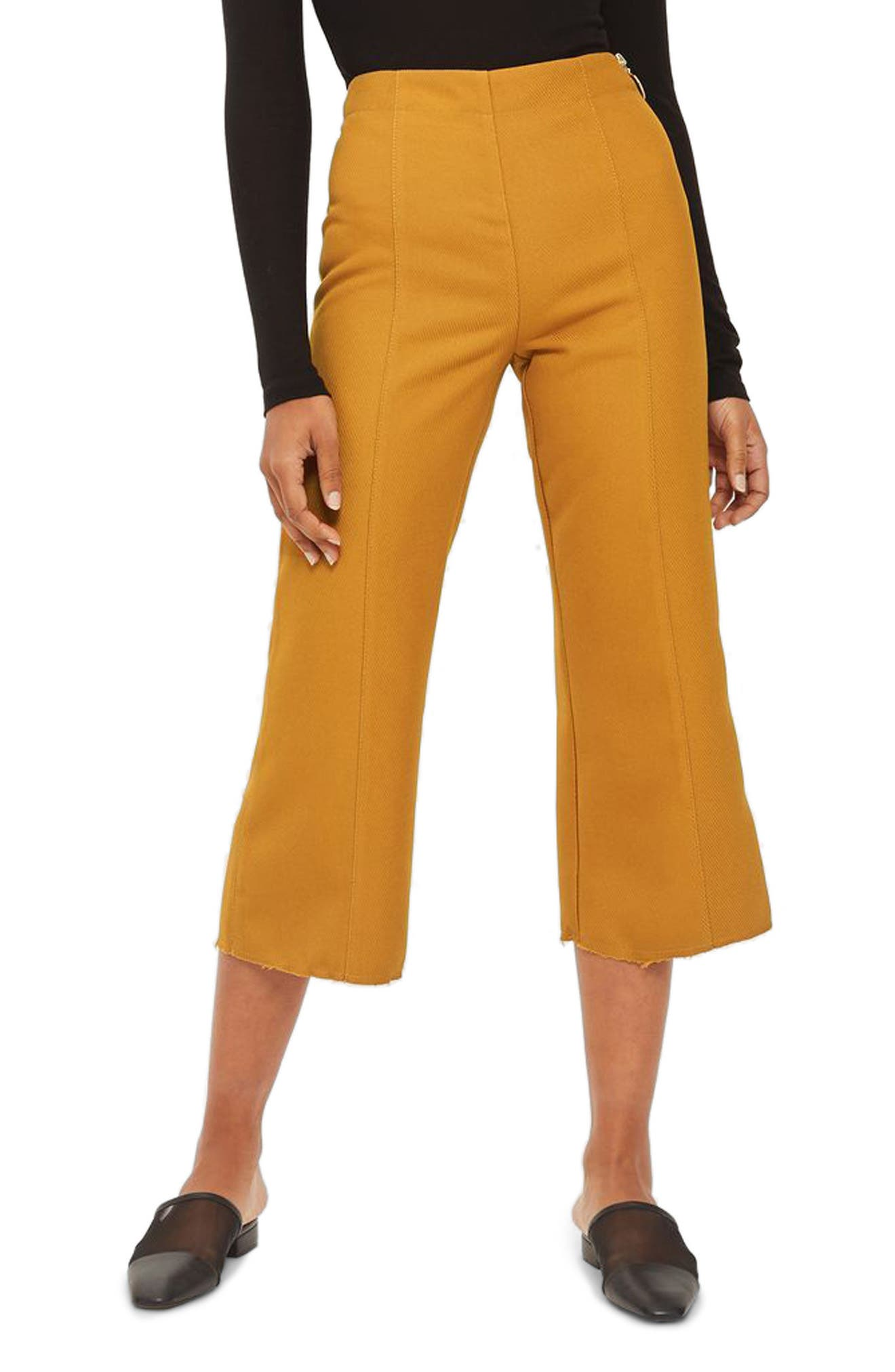 Bonded Kick Flare Trousers,                         Main,                         color, Mustard