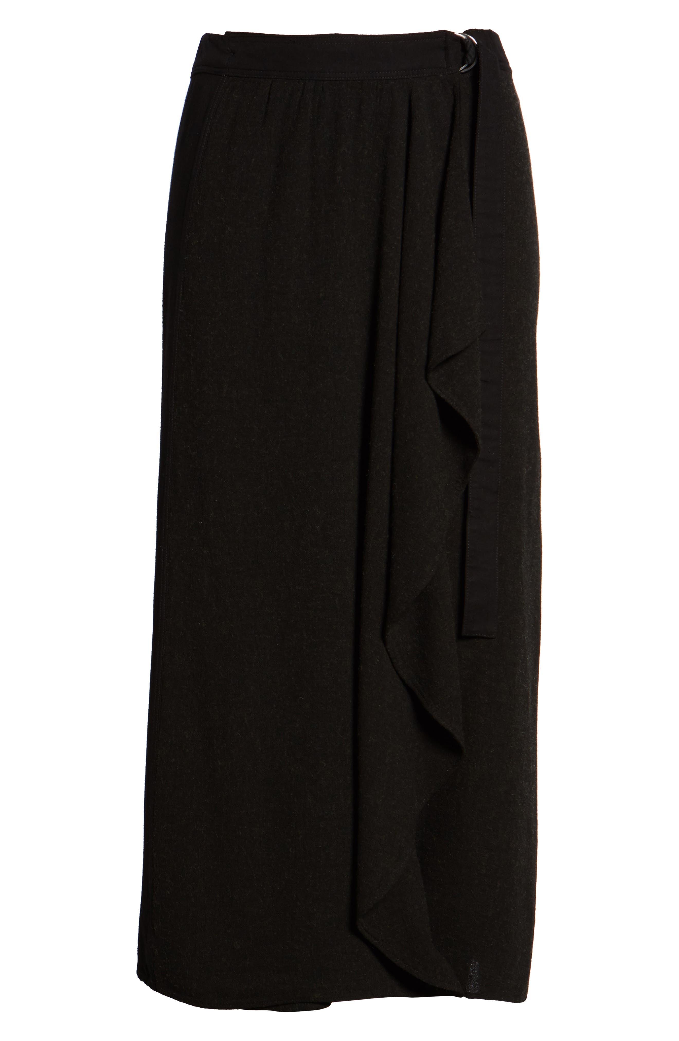 Midi Skirt,                             Alternate thumbnail 6, color,                             Black