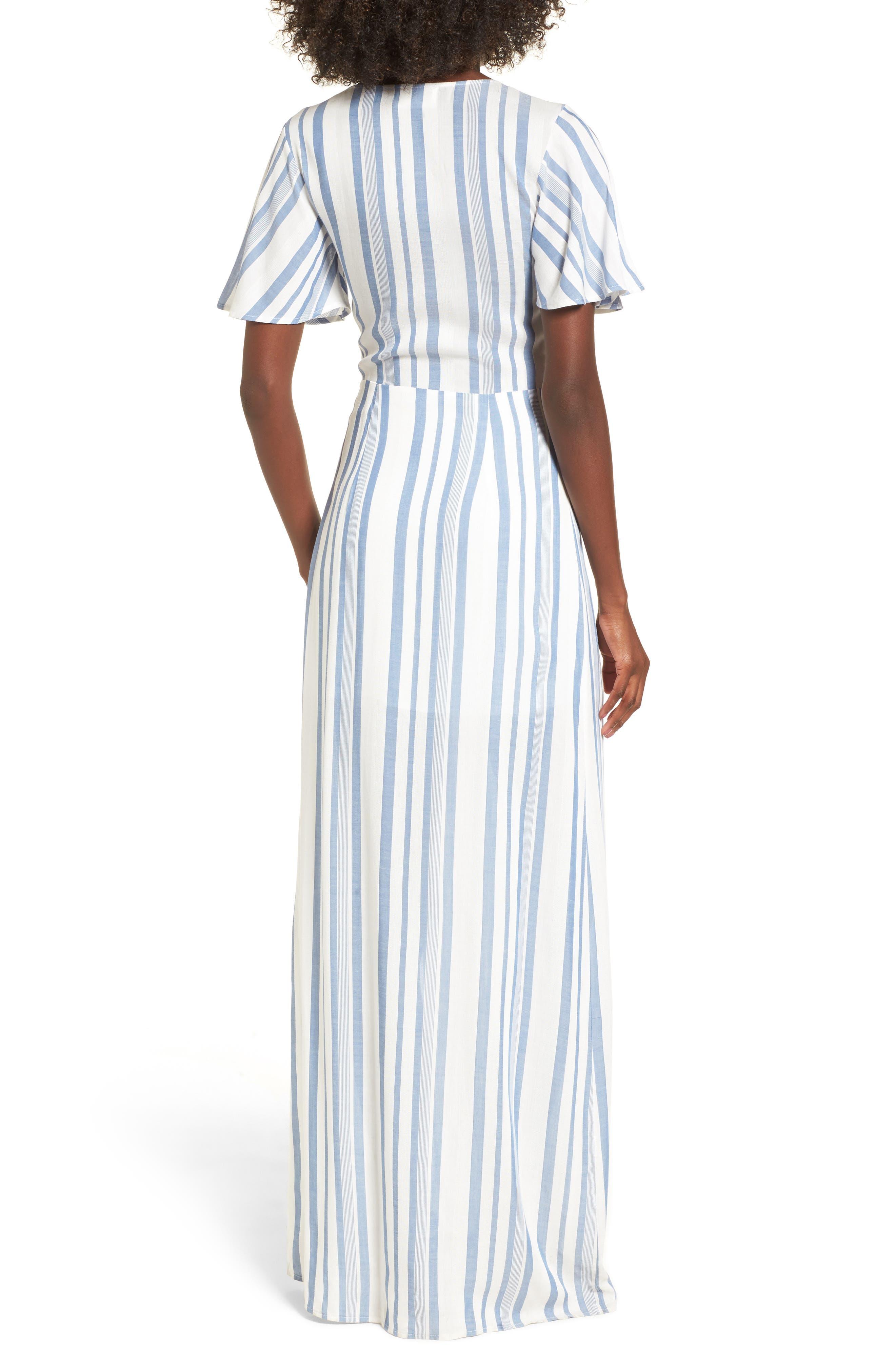 Bow Front Marina Maxi Dress,                             Alternate thumbnail 2, color,                             White/ Blue
