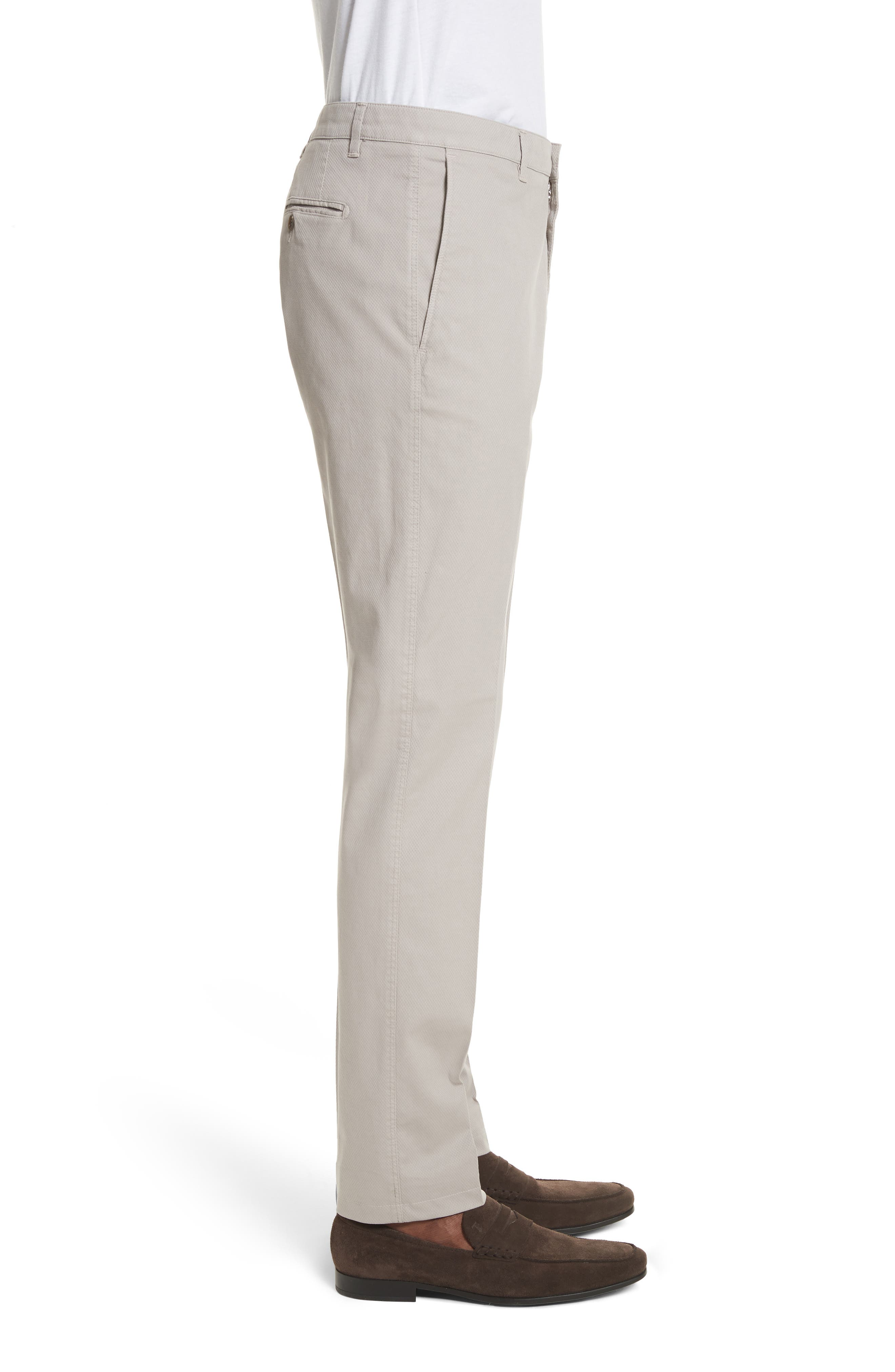 Flat Front Stretch Solid Cotton Trousers,                             Alternate thumbnail 3, color,                             Stone