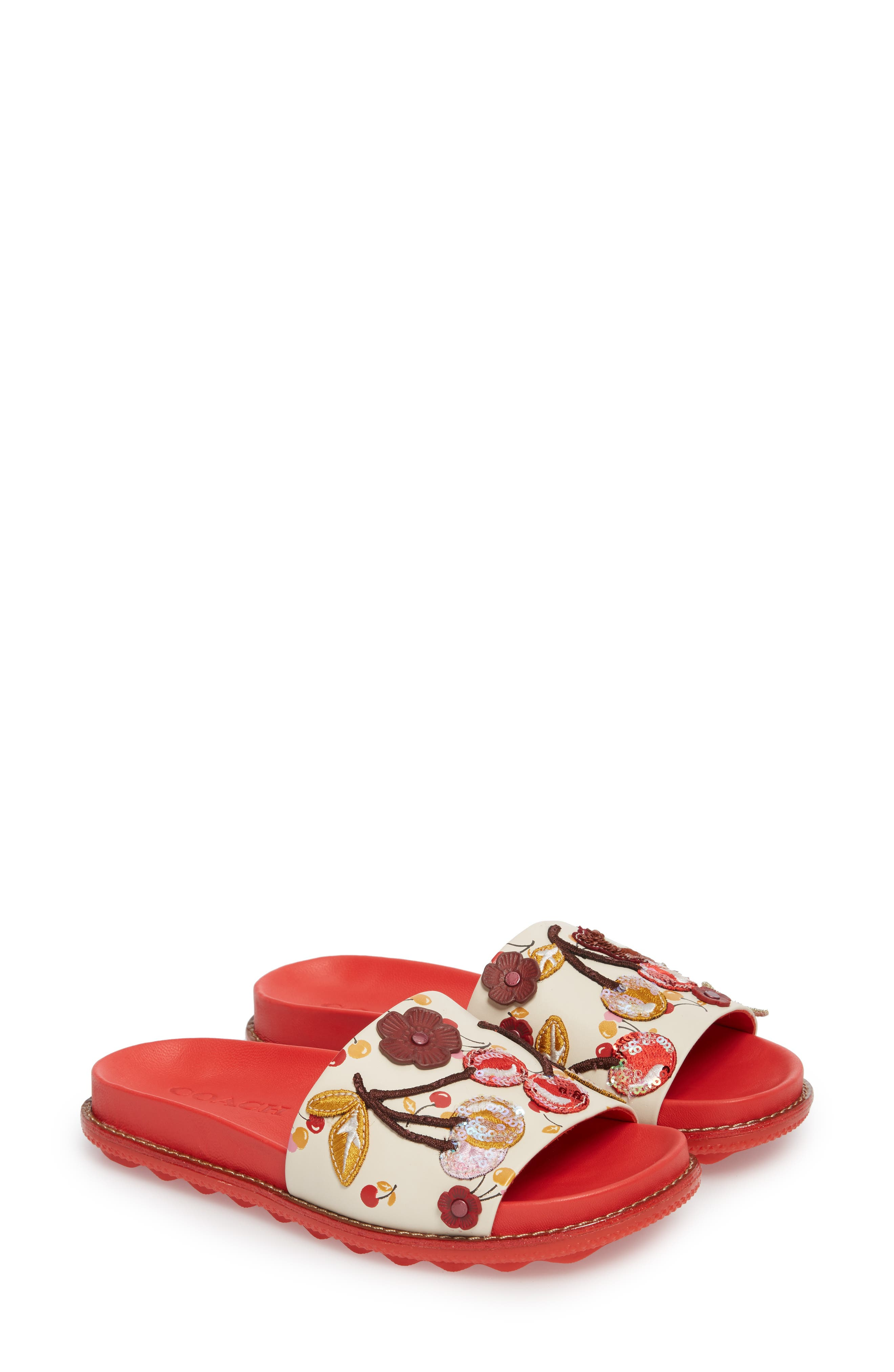 Patch Sport Slide Sandal,                             Main thumbnail 1, color,                             Ivory/ Red Leather