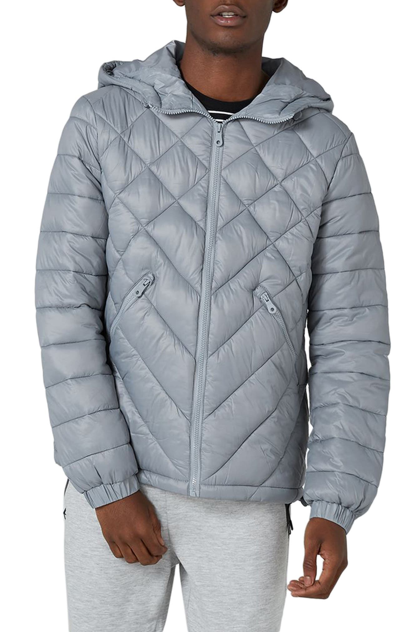 Hooded Quilted Jacket,                         Main,                         color, Grey