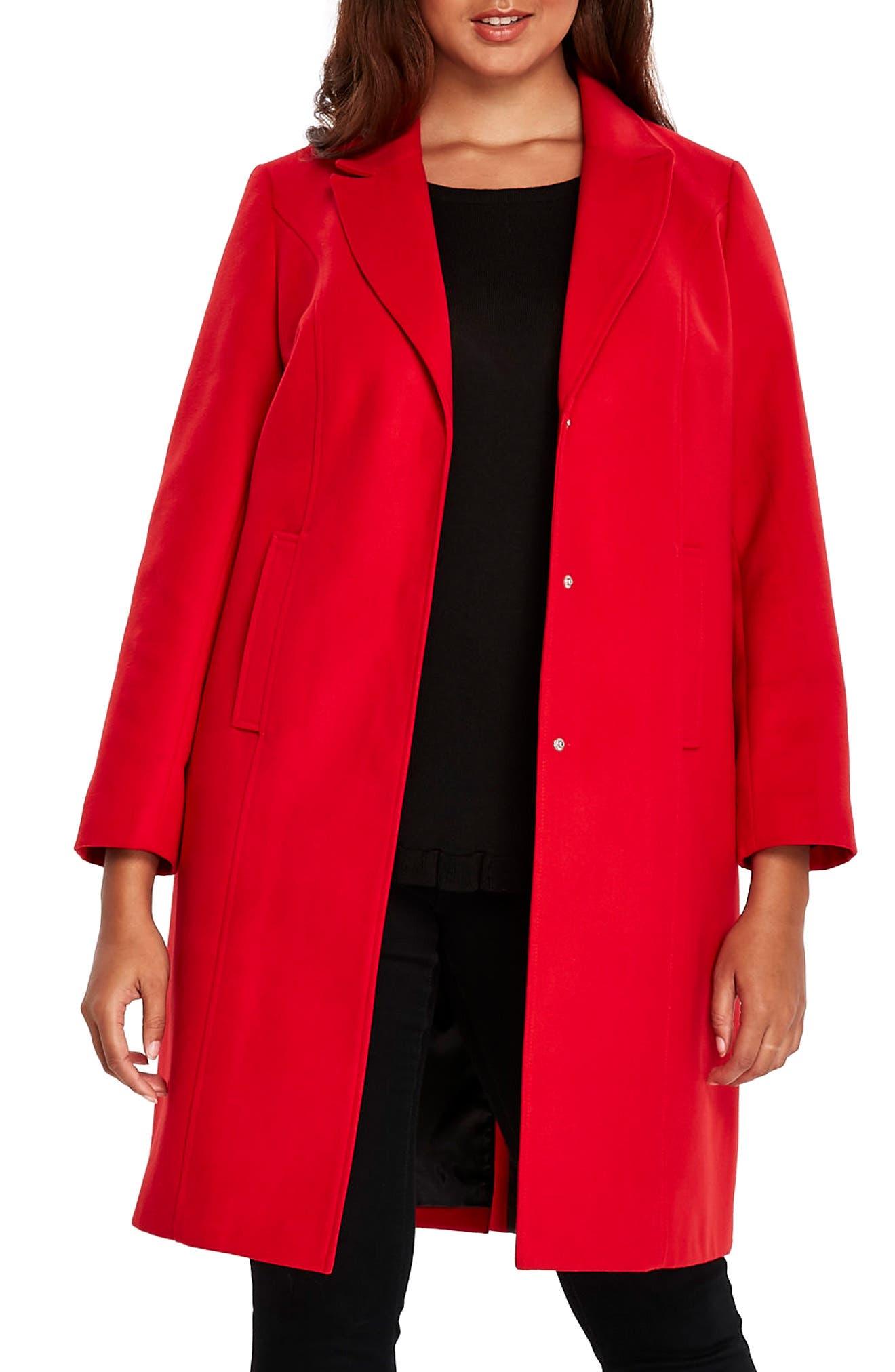 Longline Coat,                             Main thumbnail 1, color,                             Red