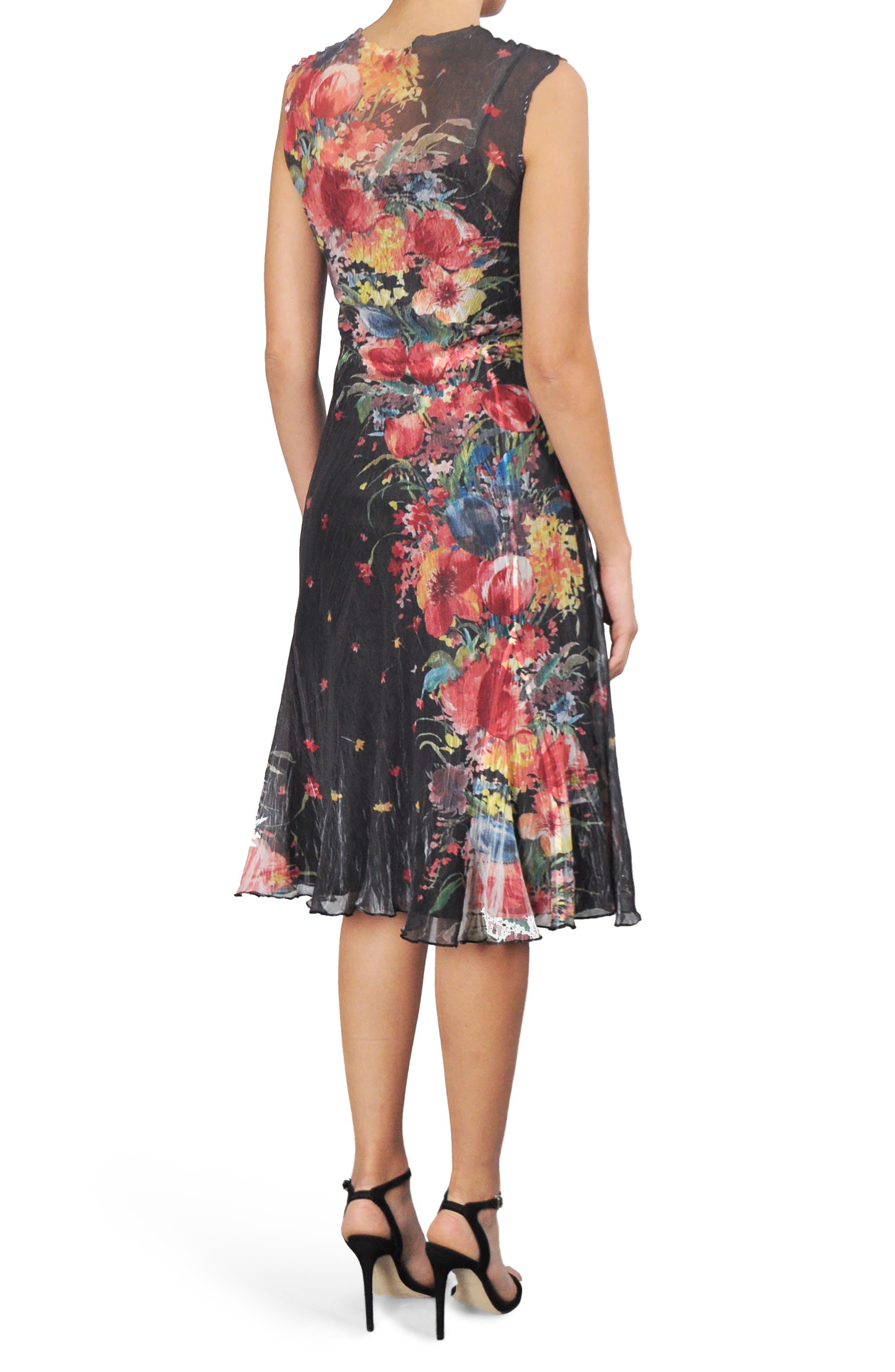 Floral Chiffon A-Line Dress,                             Alternate thumbnail 2, color,                             Tiger Lily