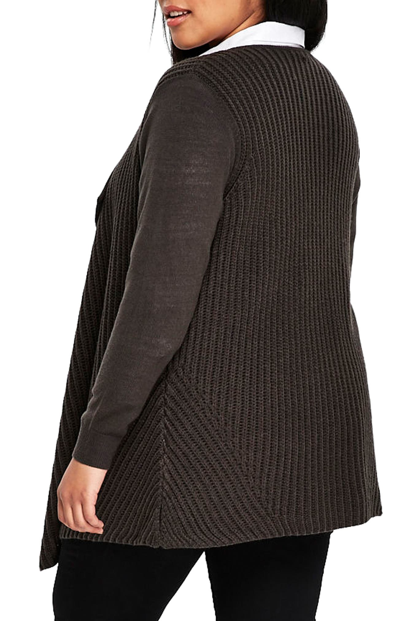 Alternate Image 2  - Evans Ribbed Waterfall Cardigan (Plus Size)