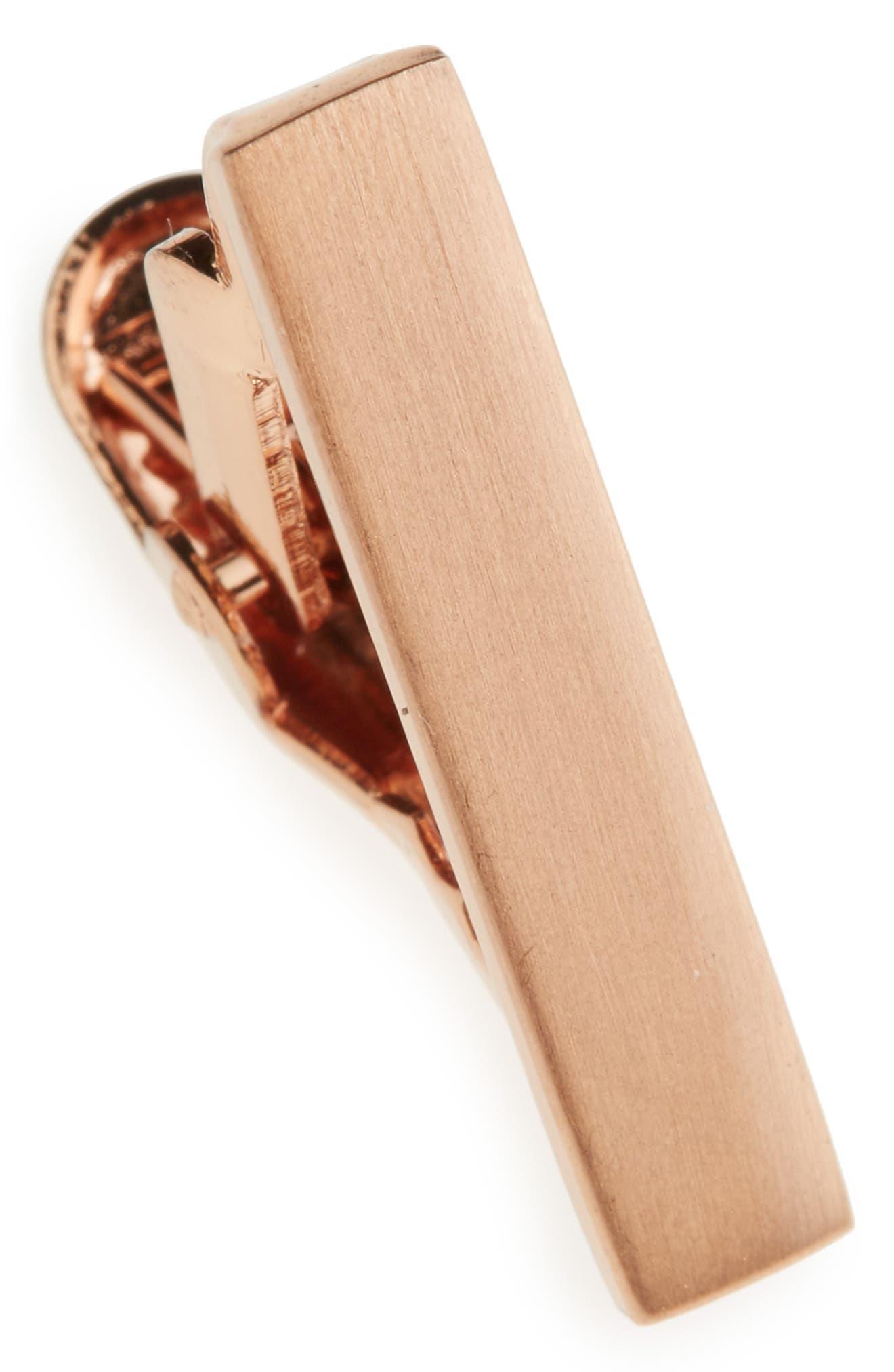 Brushed Tie Bar,                             Main thumbnail 1, color,                             Rose Gold