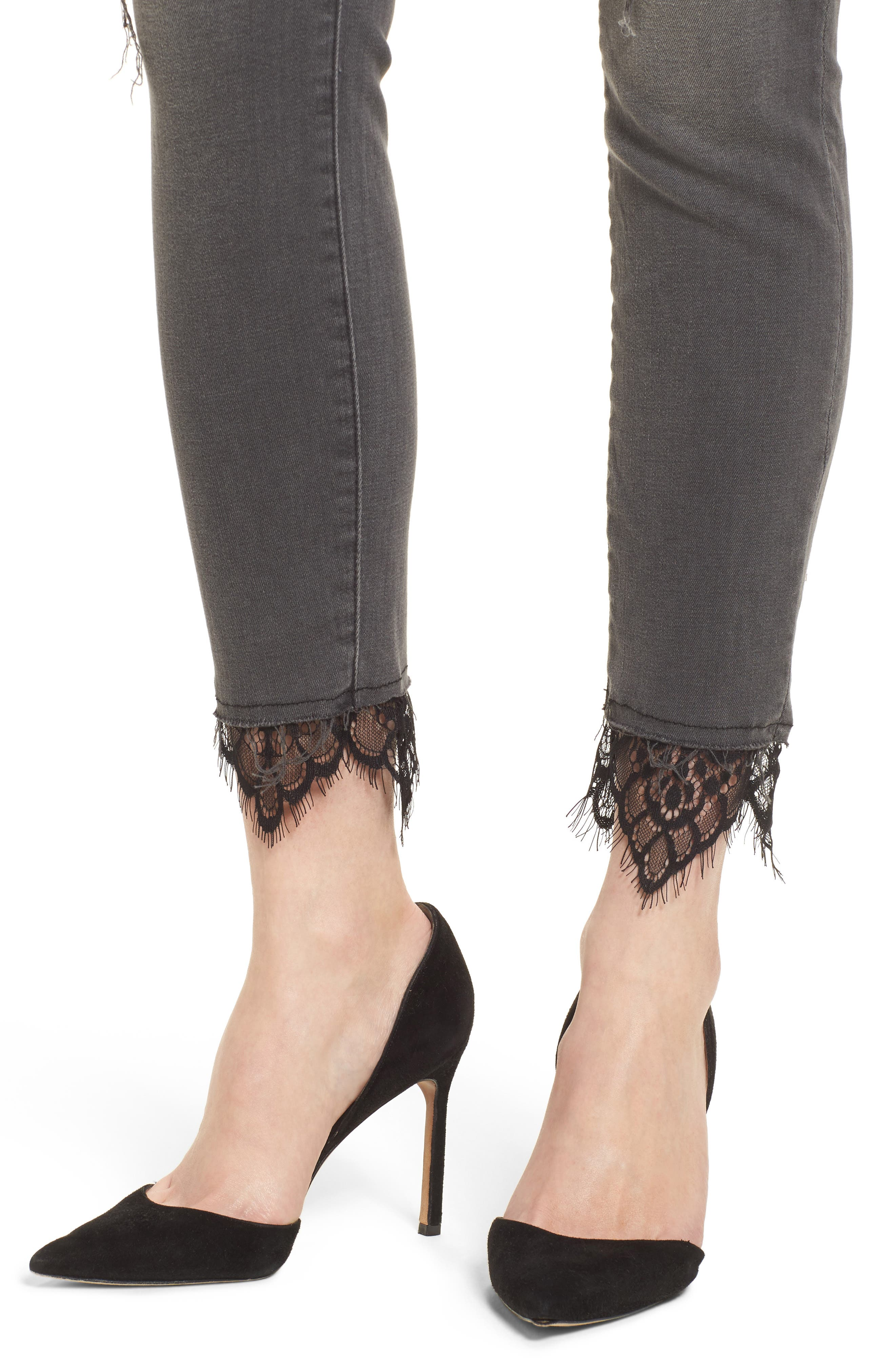 The Looker High Waist Ankle Skinny Jeans,                             Alternate thumbnail 4, color,                             Lacey Saloon