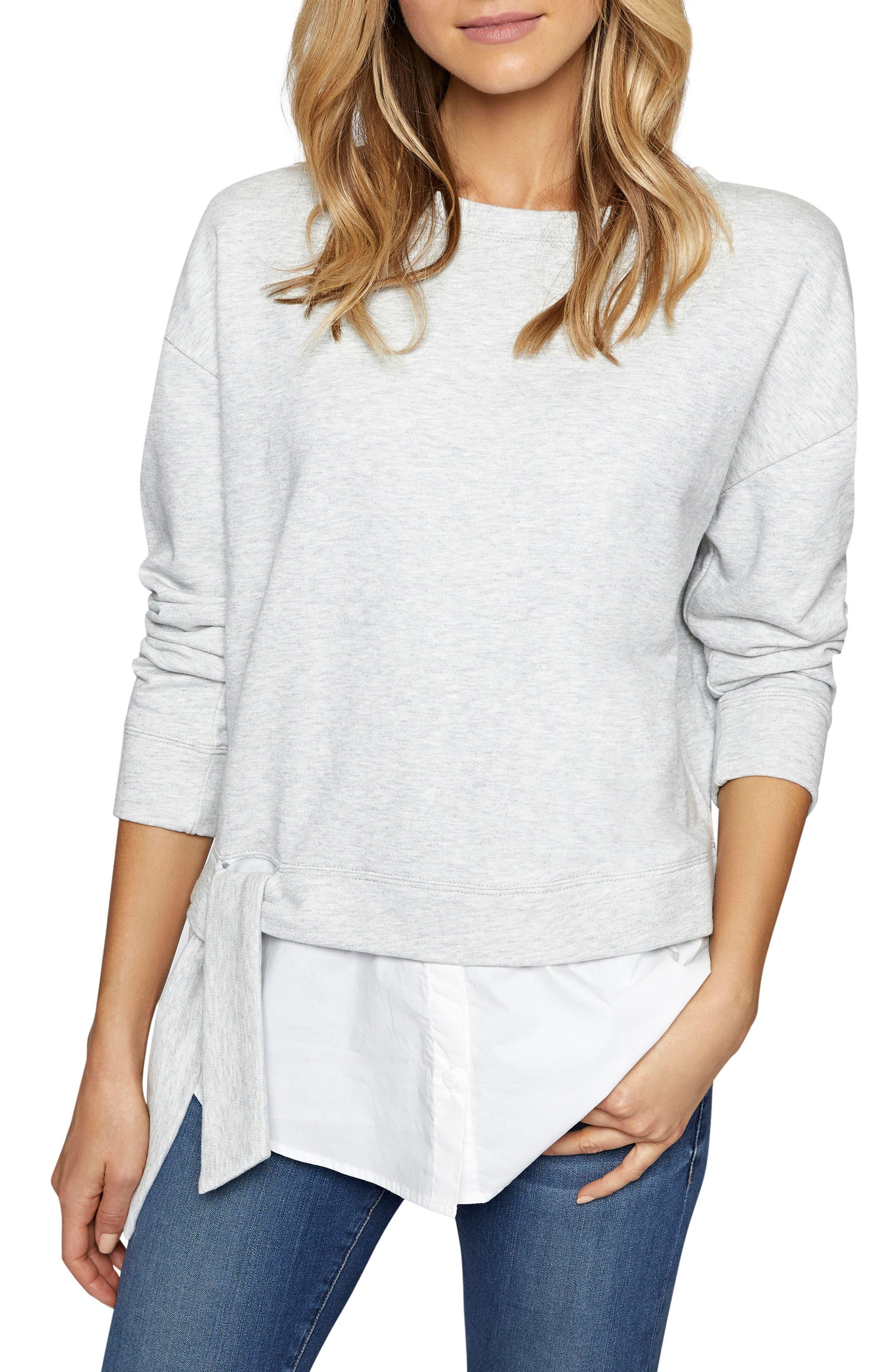Ally Layered Look Sweatshirt,                         Main,                         color, Heather Grey