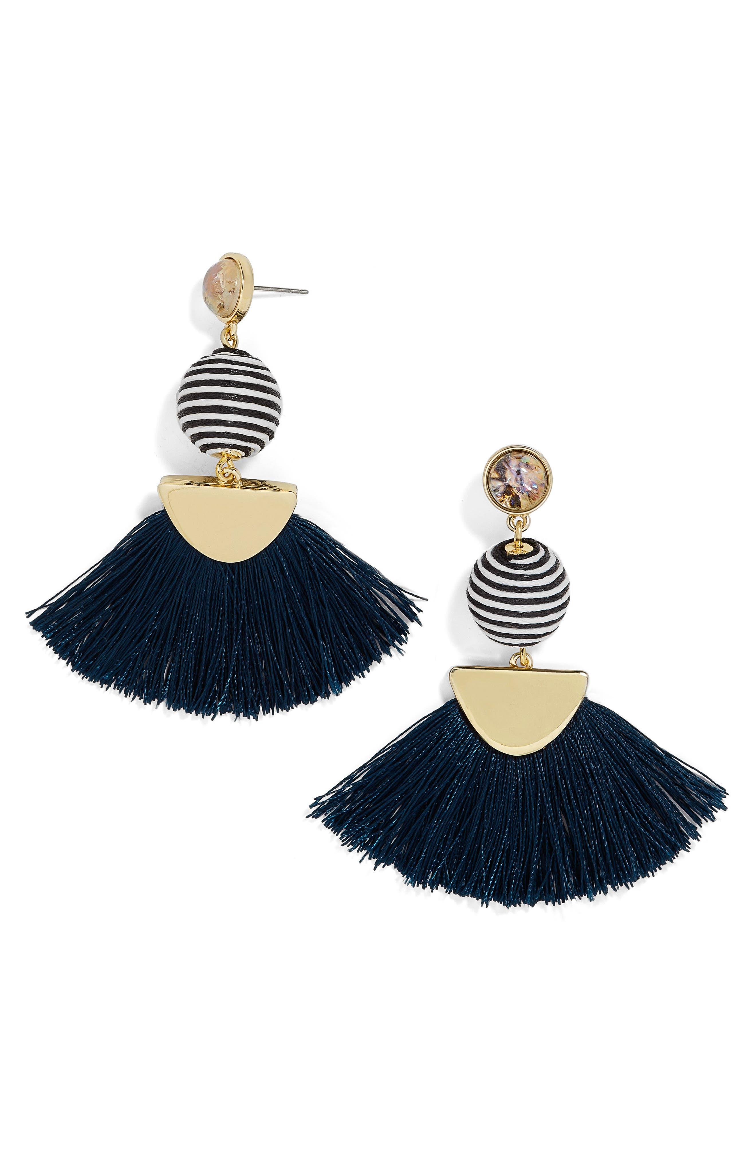Mamba Fringe Earrings,                         Main,                         color, Navy/ Stripe