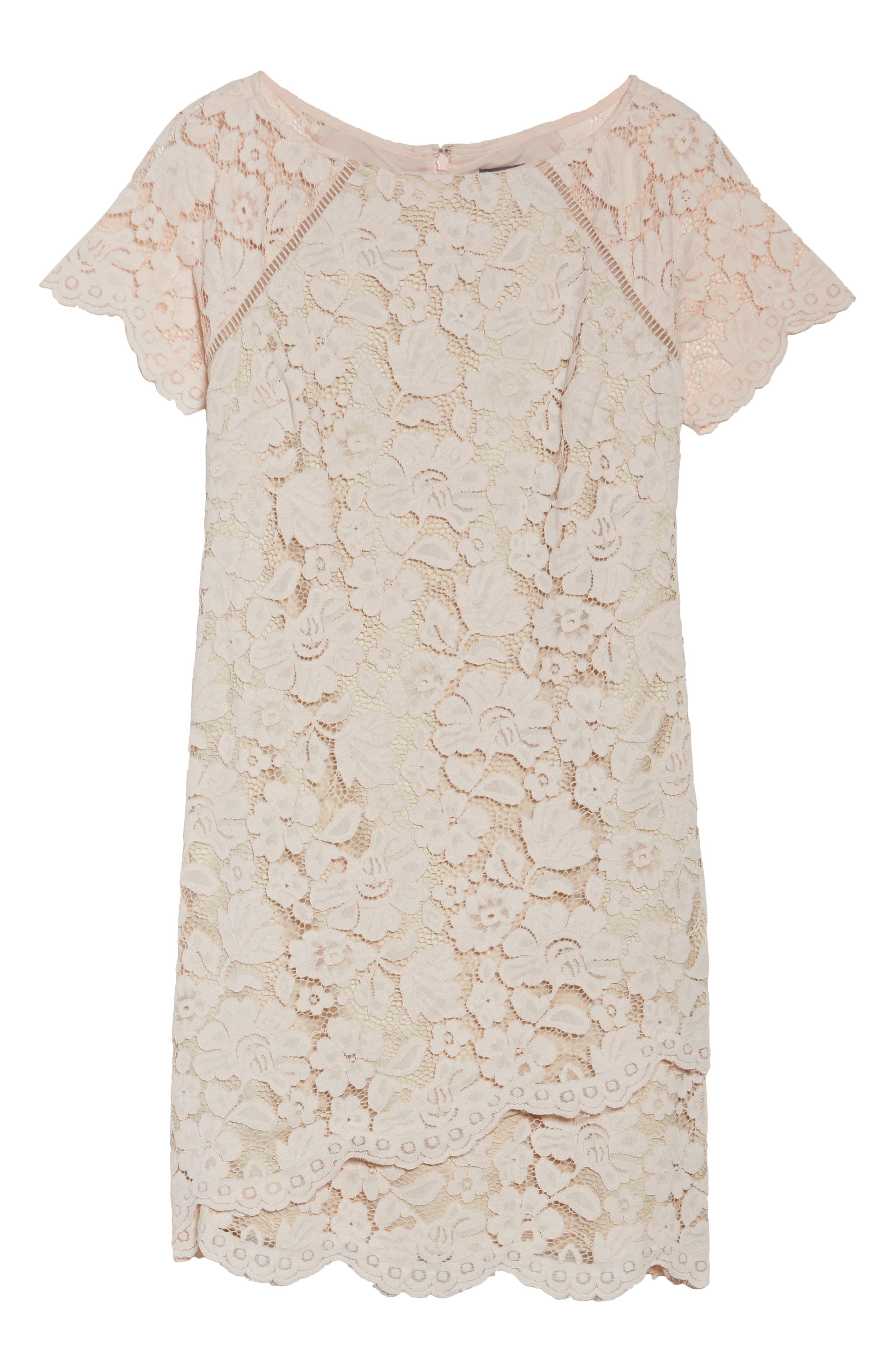 Lace Shift Dress,                             Alternate thumbnail 6, color,                             Blush