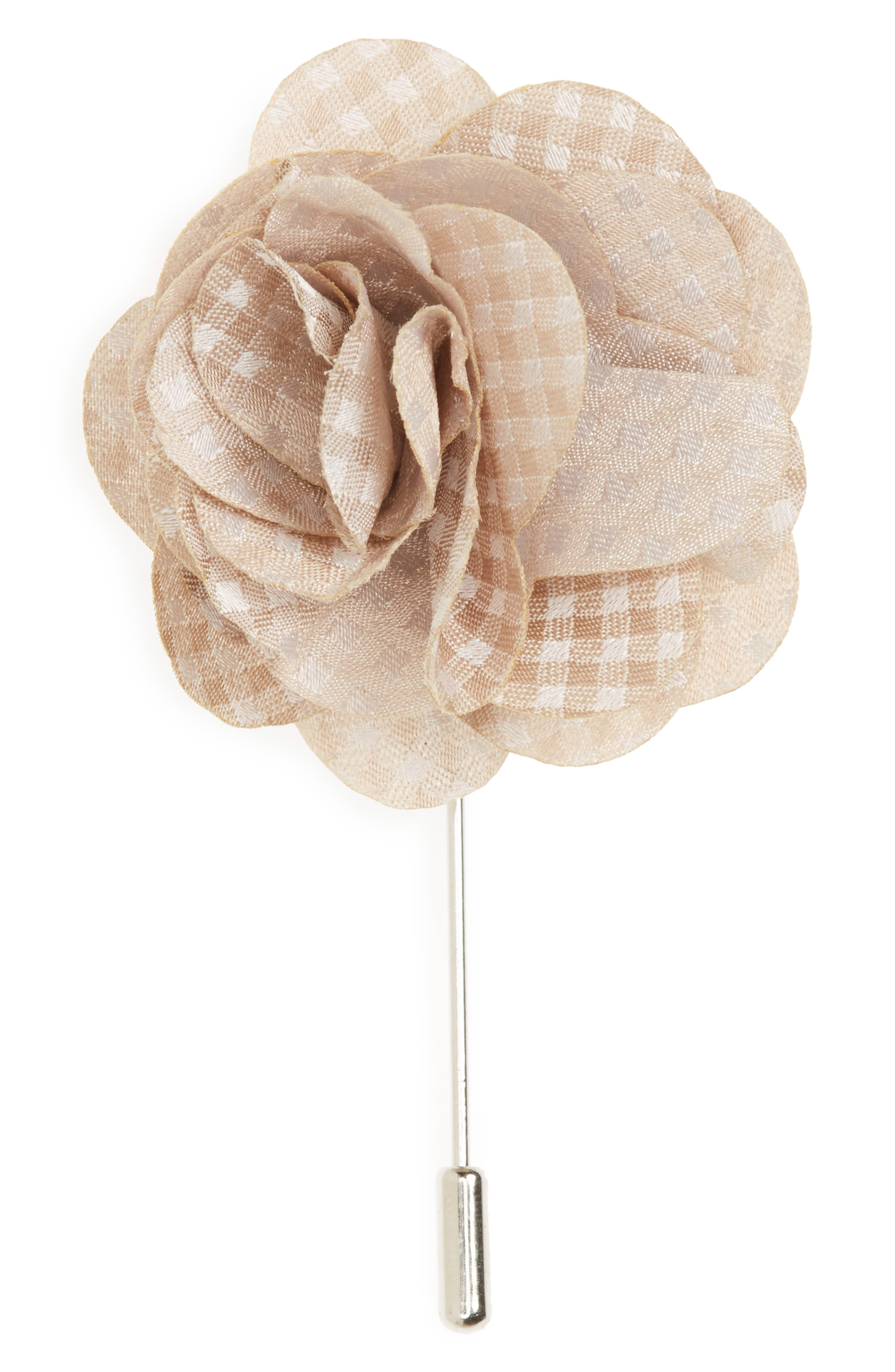Be Married Checks Silk Lapel Flower,                         Main,                         color, Champagne