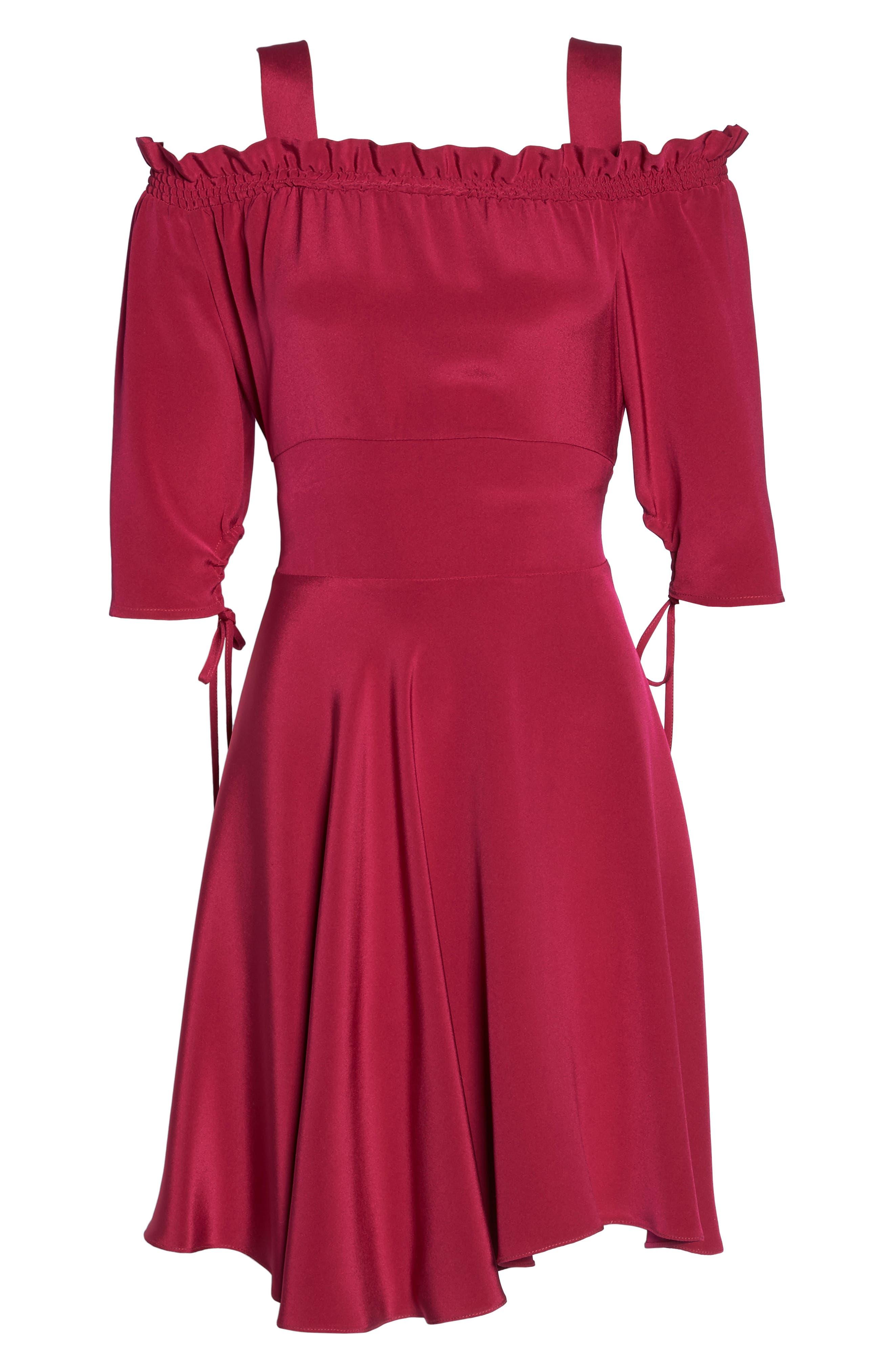 Cold Shoulder A-Line Dress,                             Alternate thumbnail 6, color,                             Raspberry