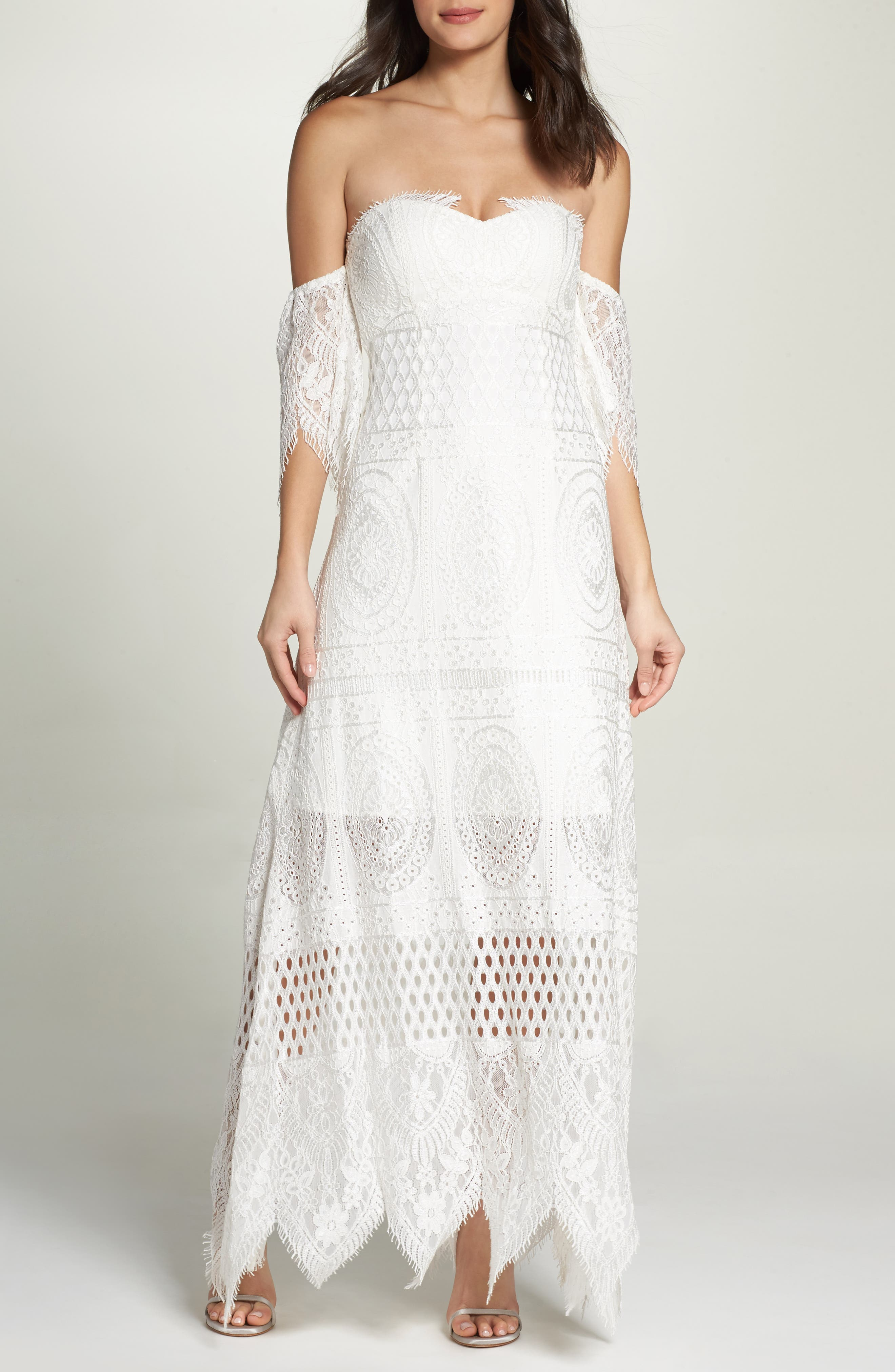 Lace Off the Shoulder Maxi Dress,                         Main,                         color, Ivory