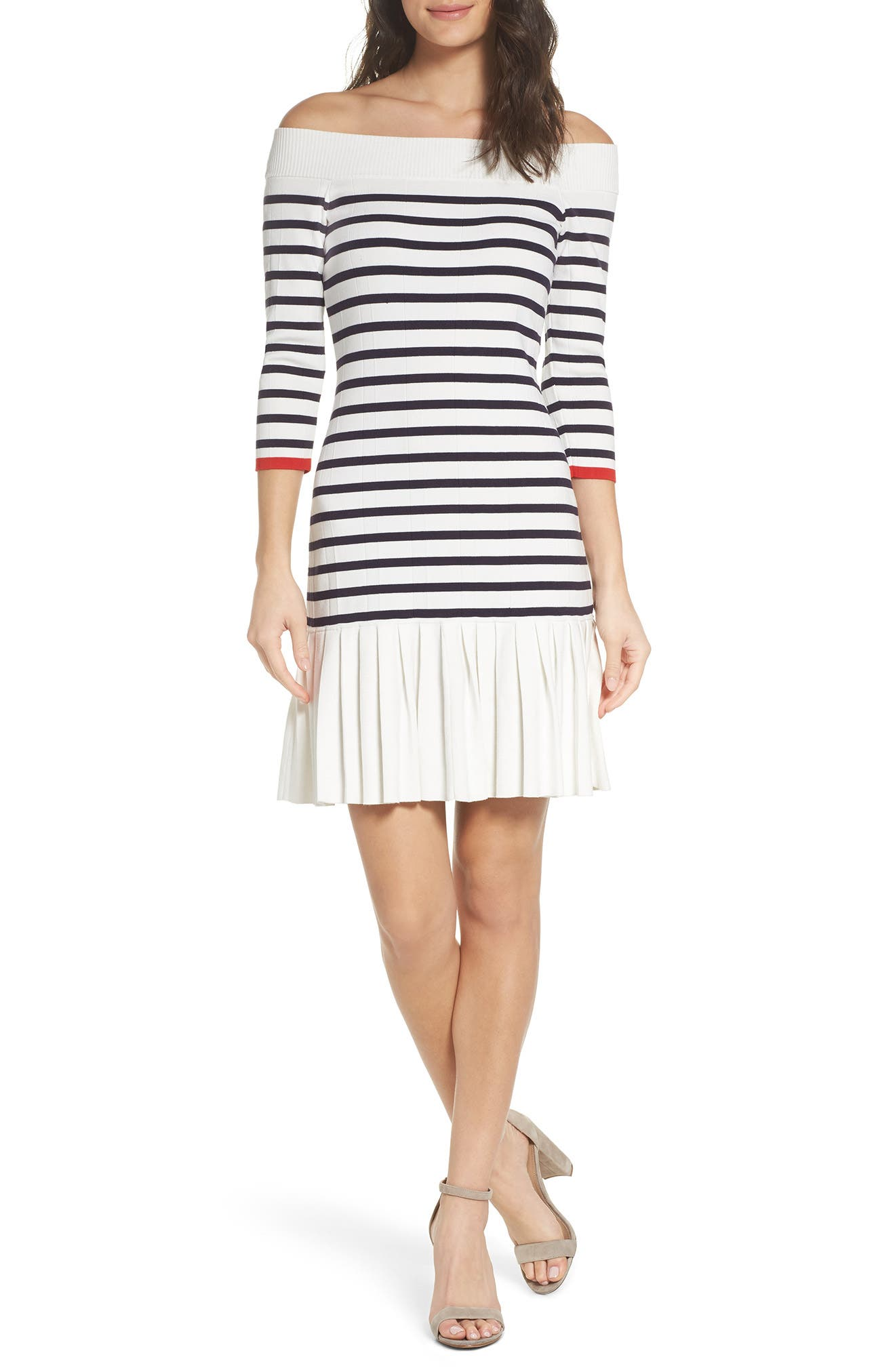 Off the Shoulder Sweater Dress,                             Main thumbnail 1, color,                             White Stripe Combo